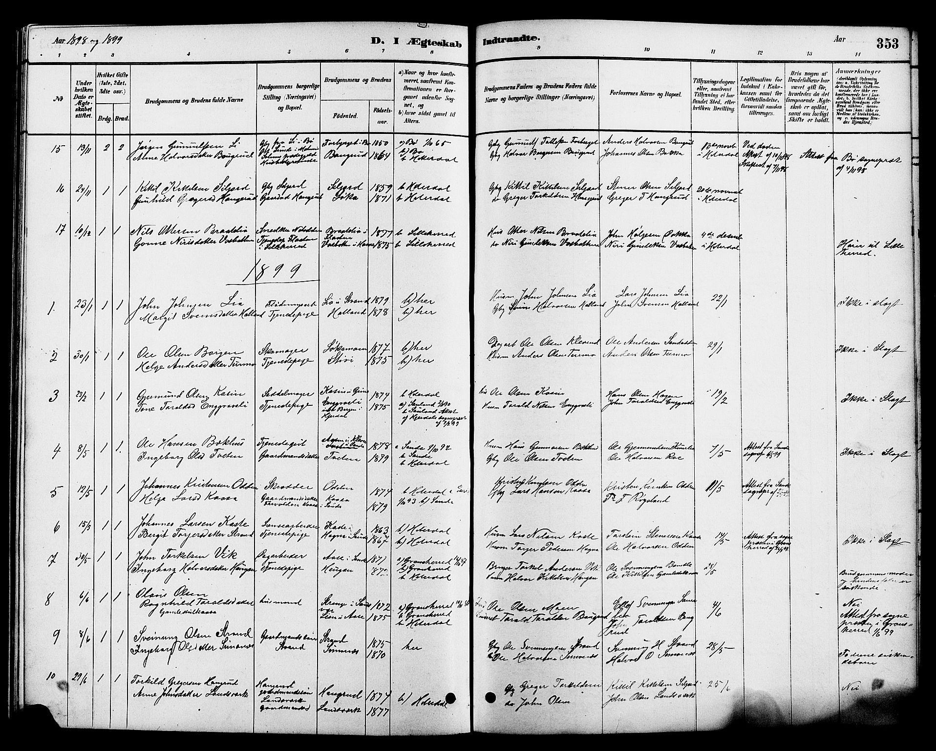 SAKO, Heddal kirkebøker, G/Ga/L0002: Klokkerbok nr. I 2, 1879-1908, s. 353