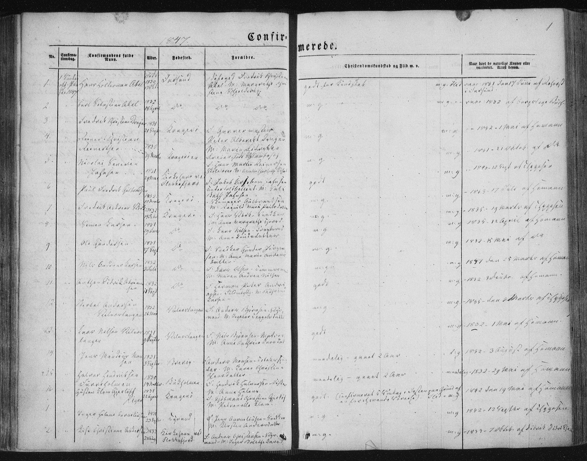 SAKO, Kragerø kirkebøker, F/Fa/L0006: Ministerialbok nr. 6, 1847-1861, s. 1