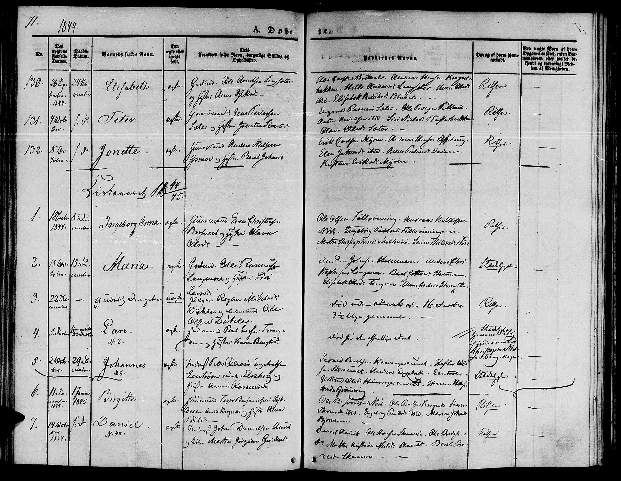 SAT, Ministerialprotokoller, klokkerbøker og fødselsregistre - Sør-Trøndelag, 646/L0610: Ministerialbok nr. 646A08, 1837-1847, s. 71