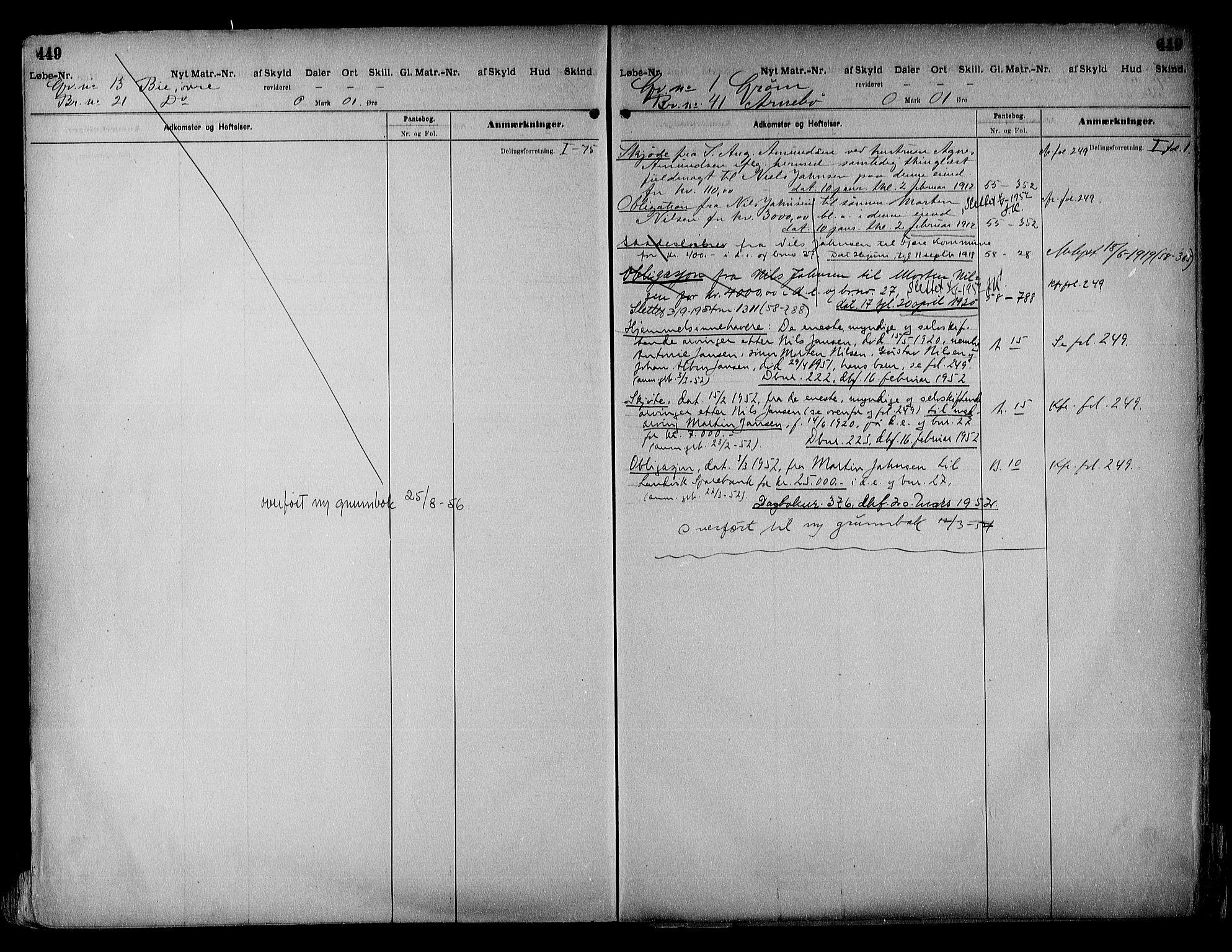 SAK, Vestre Nedenes/Sand sorenskriveri, G/Ga/L0018: Panteregister nr. 13b, 1872-1956, s. 449