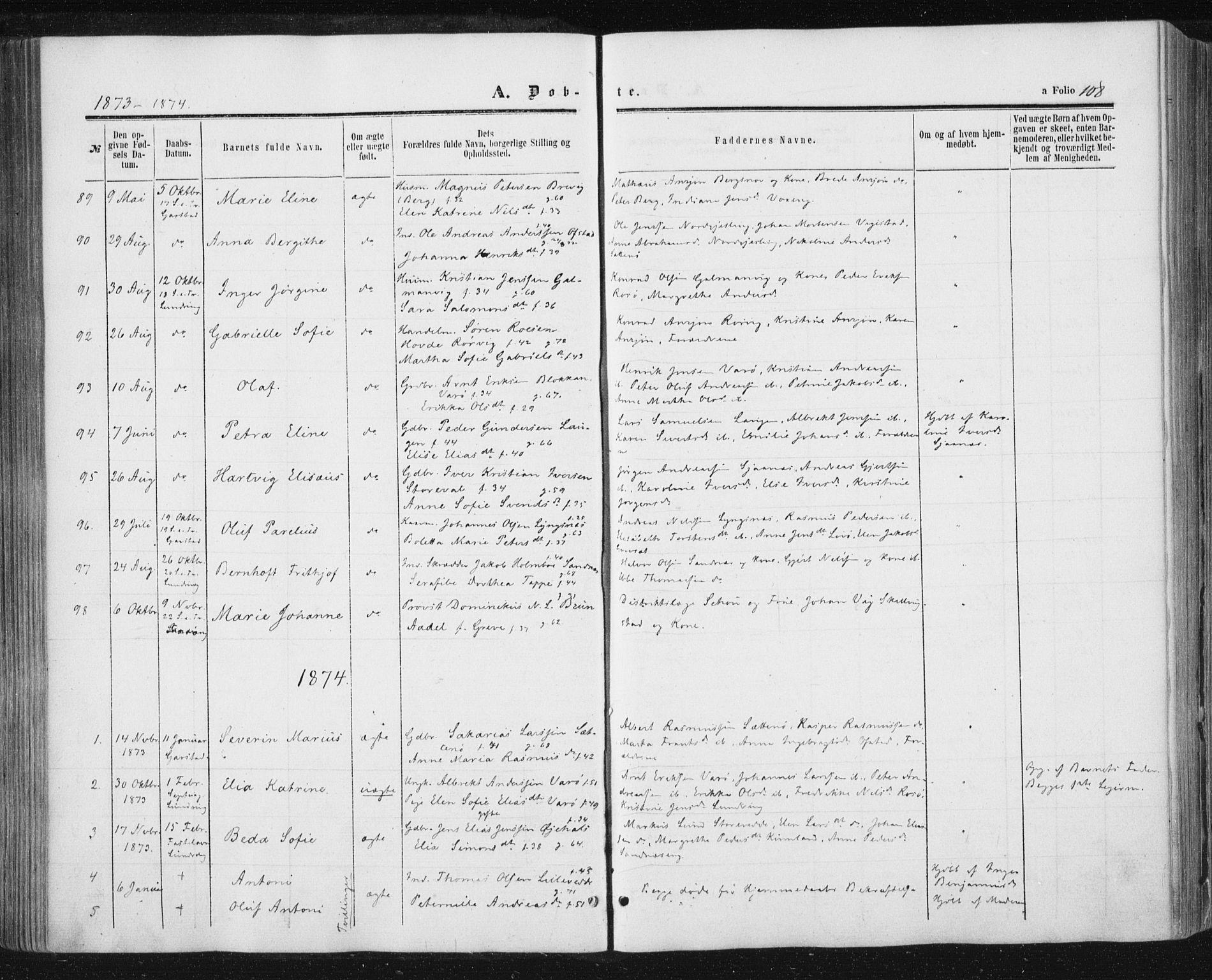 SAT, Ministerialprotokoller, klokkerbøker og fødselsregistre - Nord-Trøndelag, 784/L0670: Ministerialbok nr. 784A05, 1860-1876, s. 108
