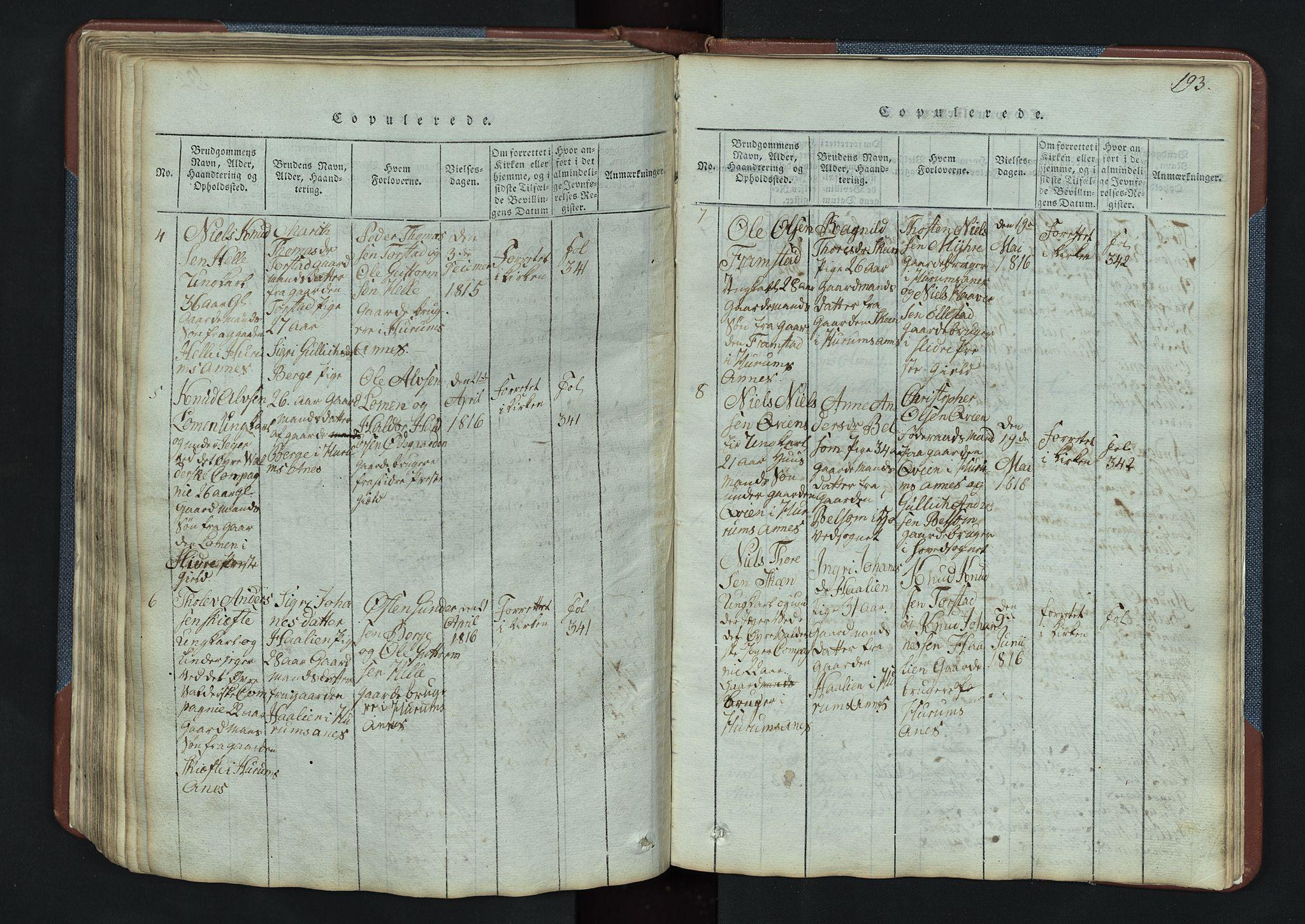 SAH, Vang prestekontor, Valdres, Klokkerbok nr. 3, 1814-1892, s. 193