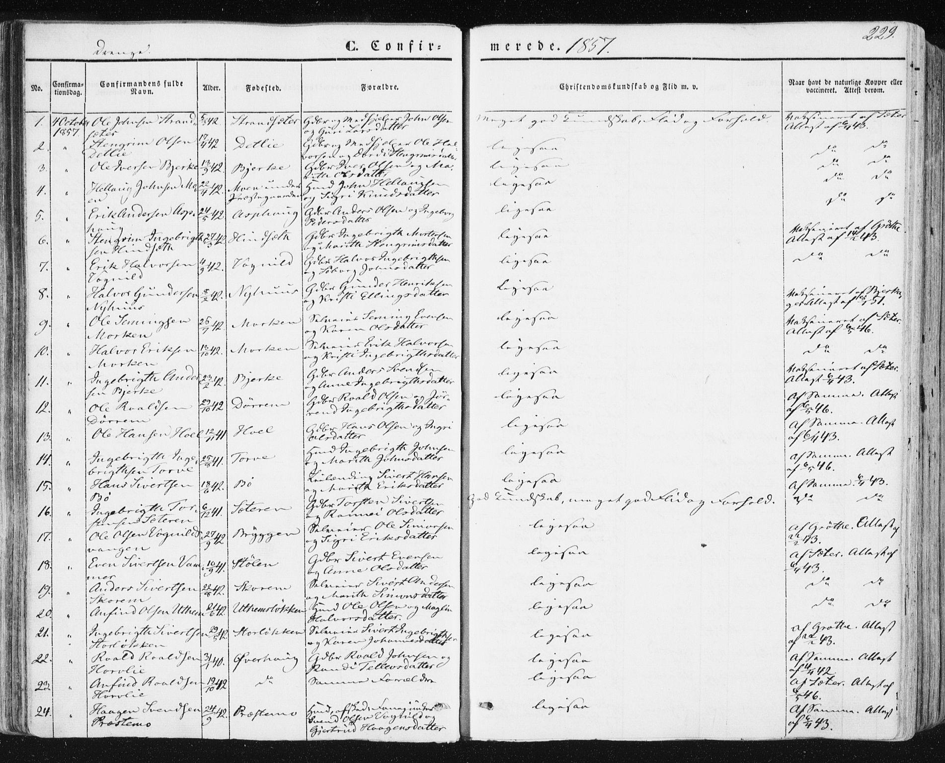 SAT, Ministerialprotokoller, klokkerbøker og fødselsregistre - Sør-Trøndelag, 678/L0899: Ministerialbok nr. 678A08, 1848-1872, s. 229