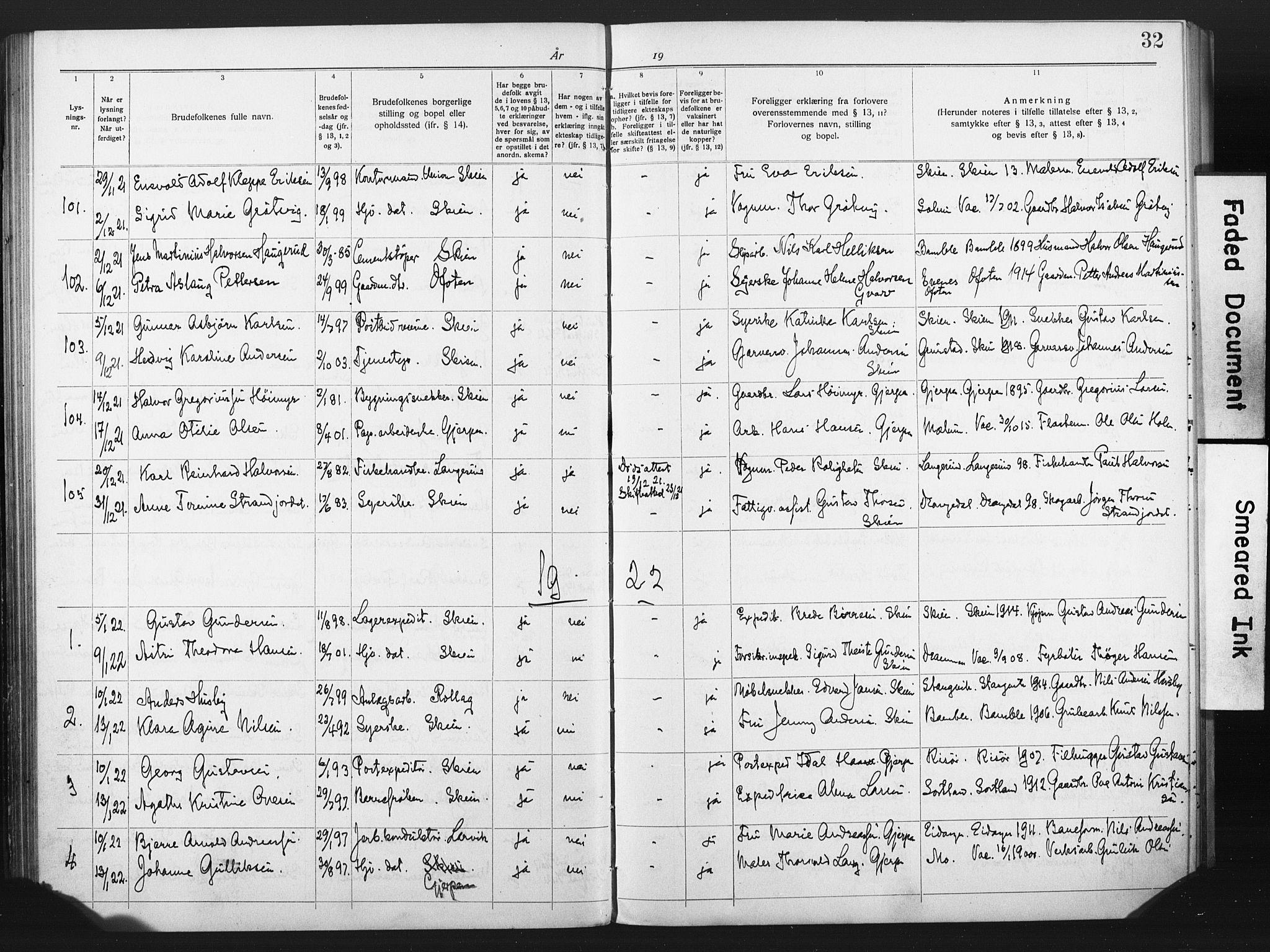 SAKO, Skien kirkebøker, H/Ha/L0001: Lysningsprotokoll nr. 1, 1919-1929, s. 32
