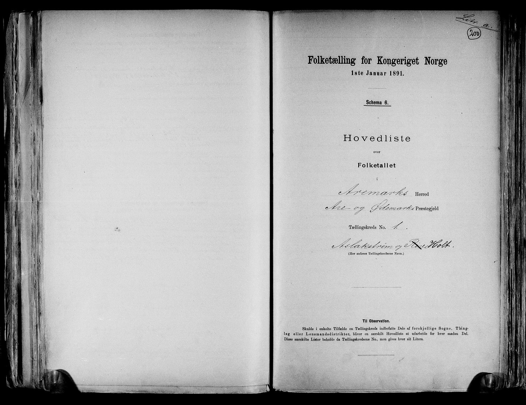RA, Folketelling 1891 for 0118 Aremark herred, 1891, s. 4