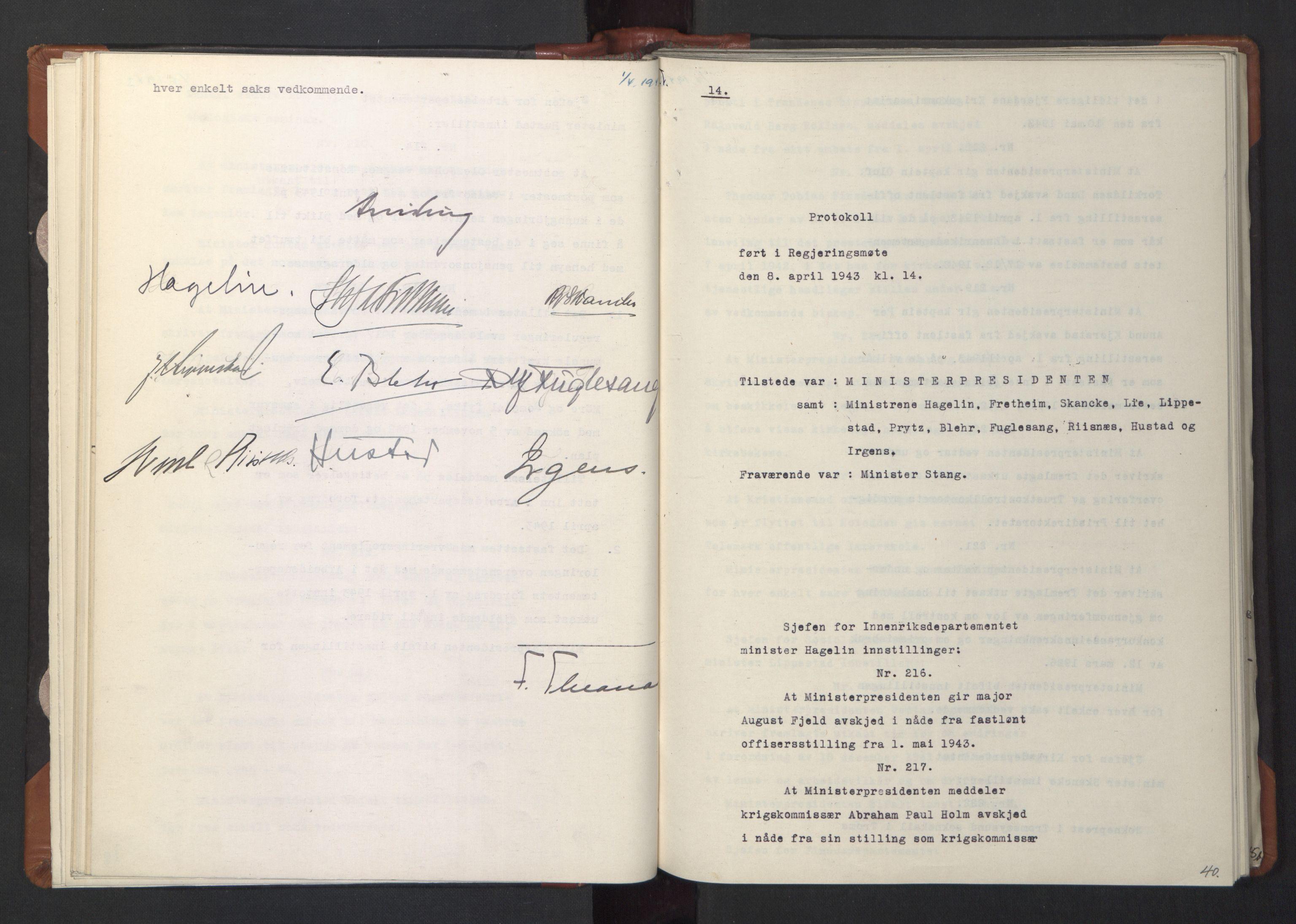 RA, NS-administrasjonen 1940-1945 (Statsrådsekretariatet, de kommisariske statsråder mm), D/Da/L0003: Vedtak (Beslutninger) nr. 1-746 og tillegg nr. 1-47 (RA. j.nr. 1394/1944, tilgangsnr. 8/1944, 1943, s. 39b-40a