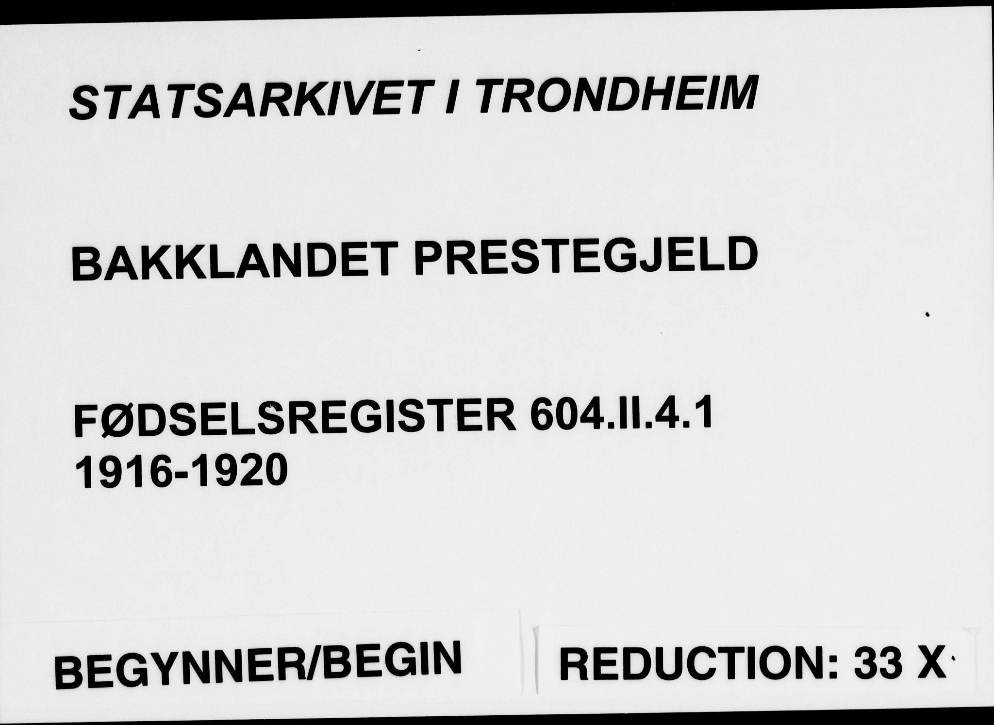 SAT, Ministerialprotokoller, klokkerbøker og fødselsregistre - Sør-Trøndelag, 604/L0232: Fødselsregister nr. 604.II.4.1, 1916-1920