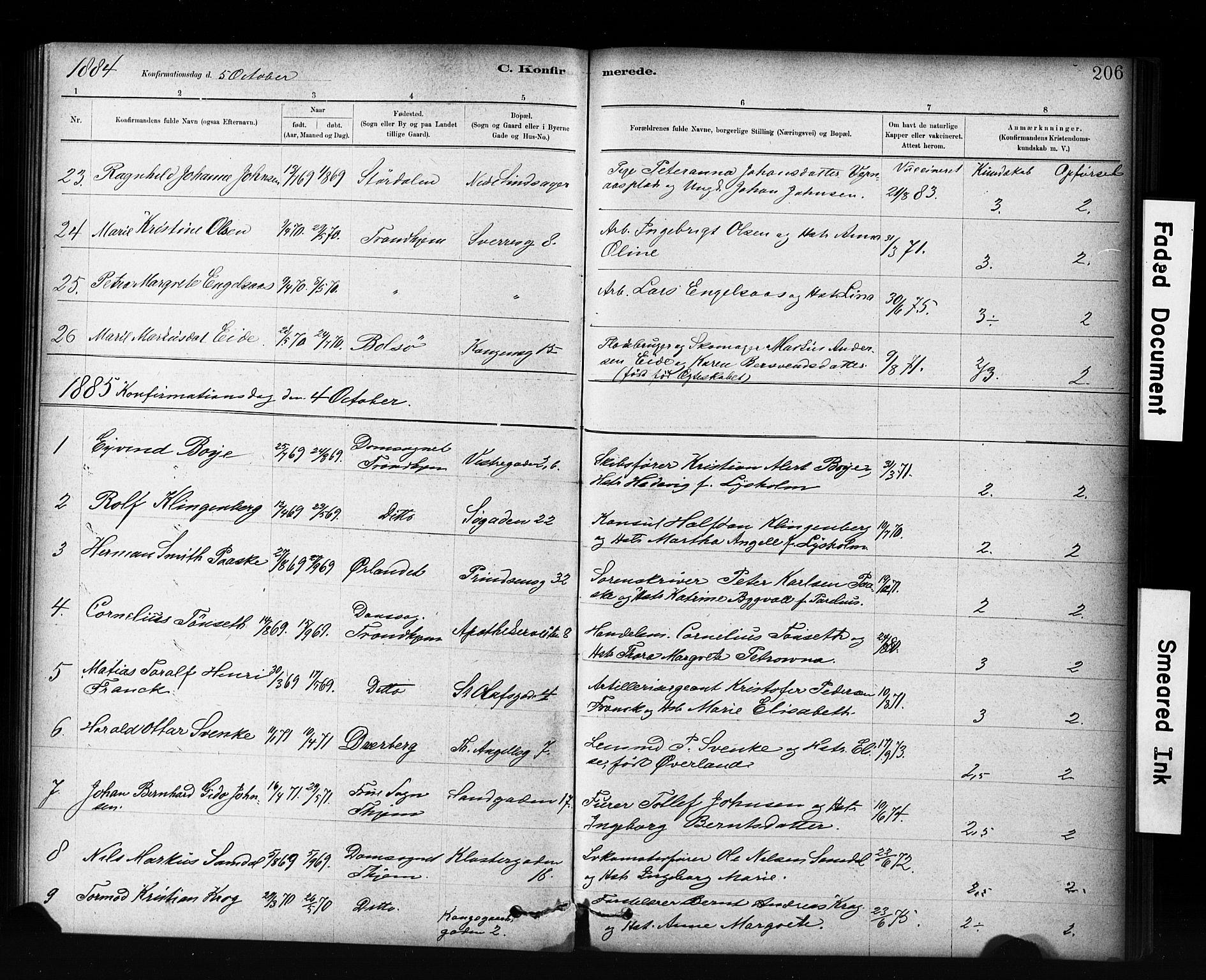 SAT, Ministerialprotokoller, klokkerbøker og fødselsregistre - Sør-Trøndelag, 601/L0071: Residerende kapellans bok nr. 601B04, 1882-1931, s. 206