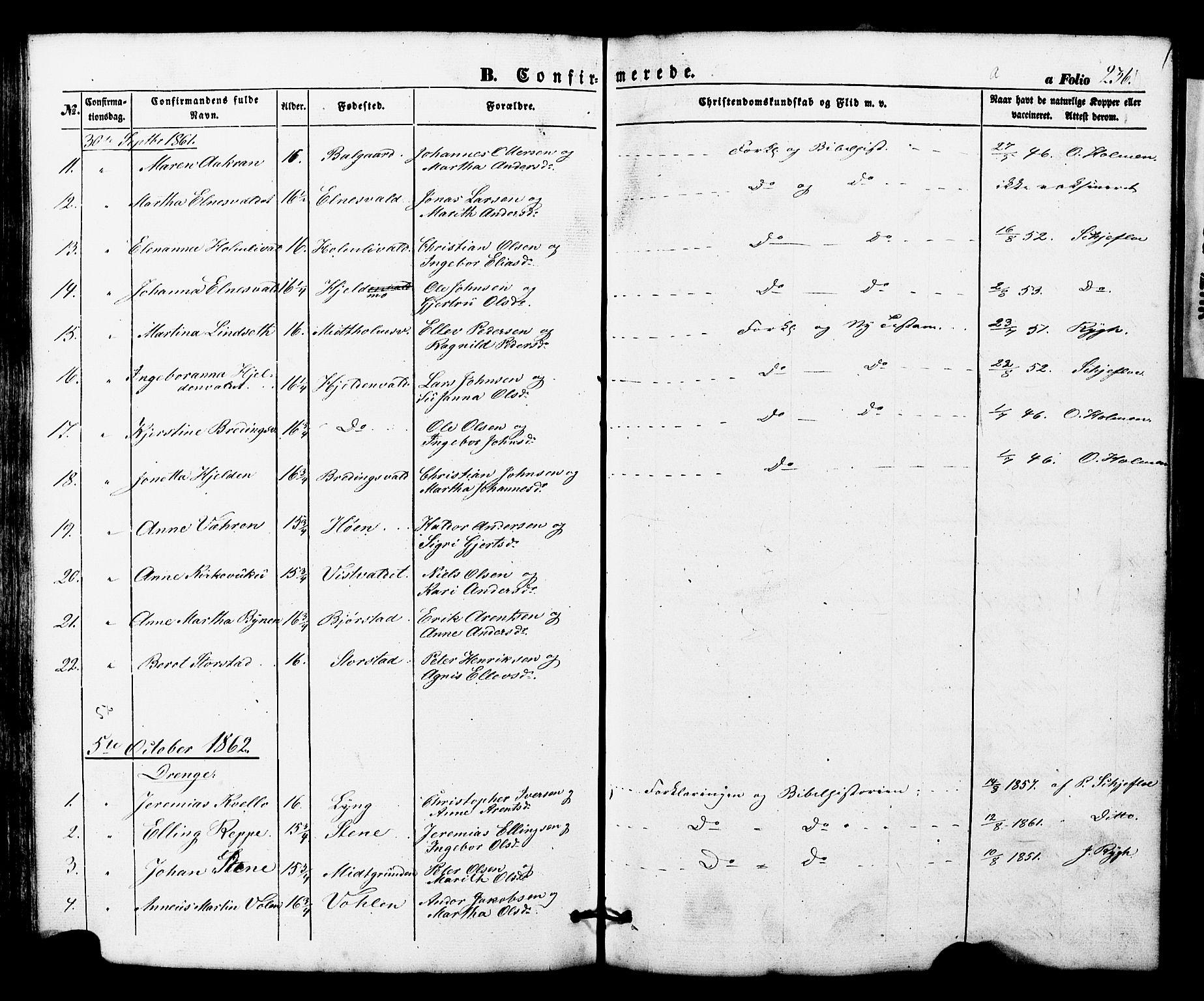 SAT, Ministerialprotokoller, klokkerbøker og fødselsregistre - Nord-Trøndelag, 724/L0268: Klokkerbok nr. 724C04, 1846-1878, s. 236