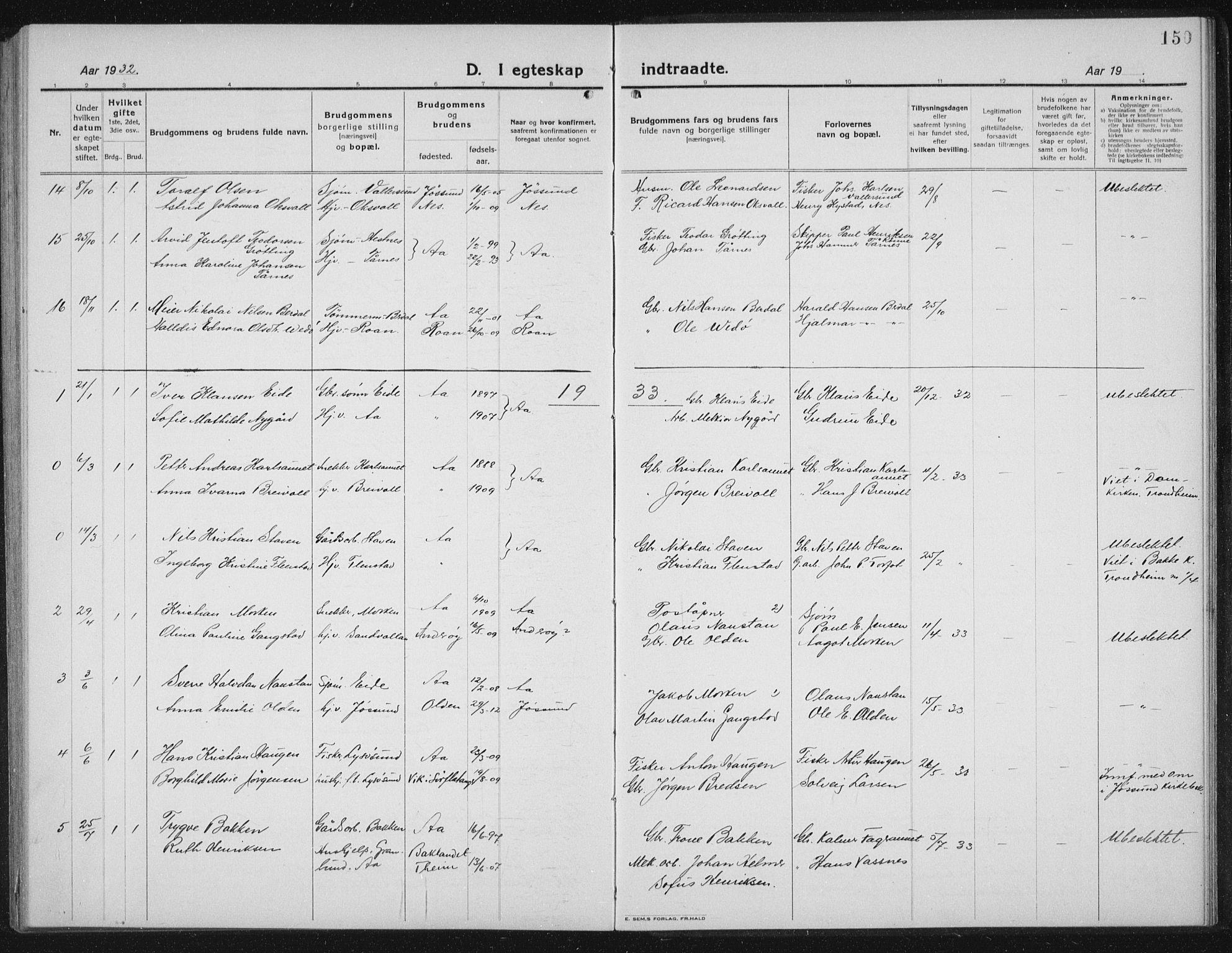SAT, Ministerialprotokoller, klokkerbøker og fødselsregistre - Sør-Trøndelag, 655/L0689: Klokkerbok nr. 655C05, 1922-1936, s. 150