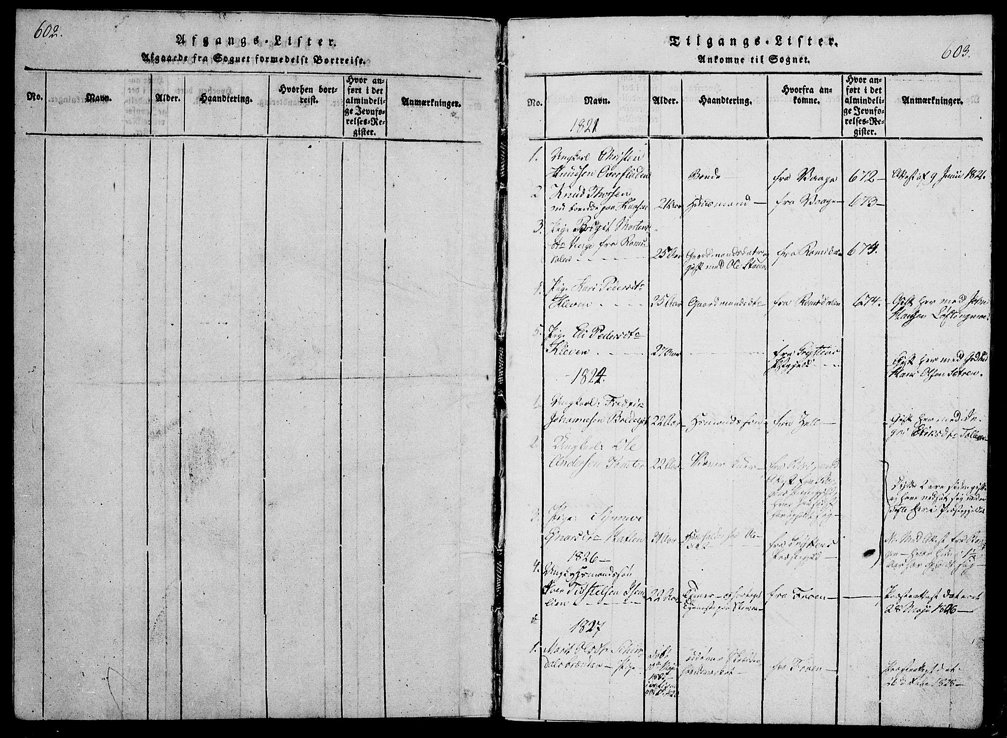 SAH, Lesja prestekontor, Ministerialbok nr. 4, 1820-1829, s. 602-603