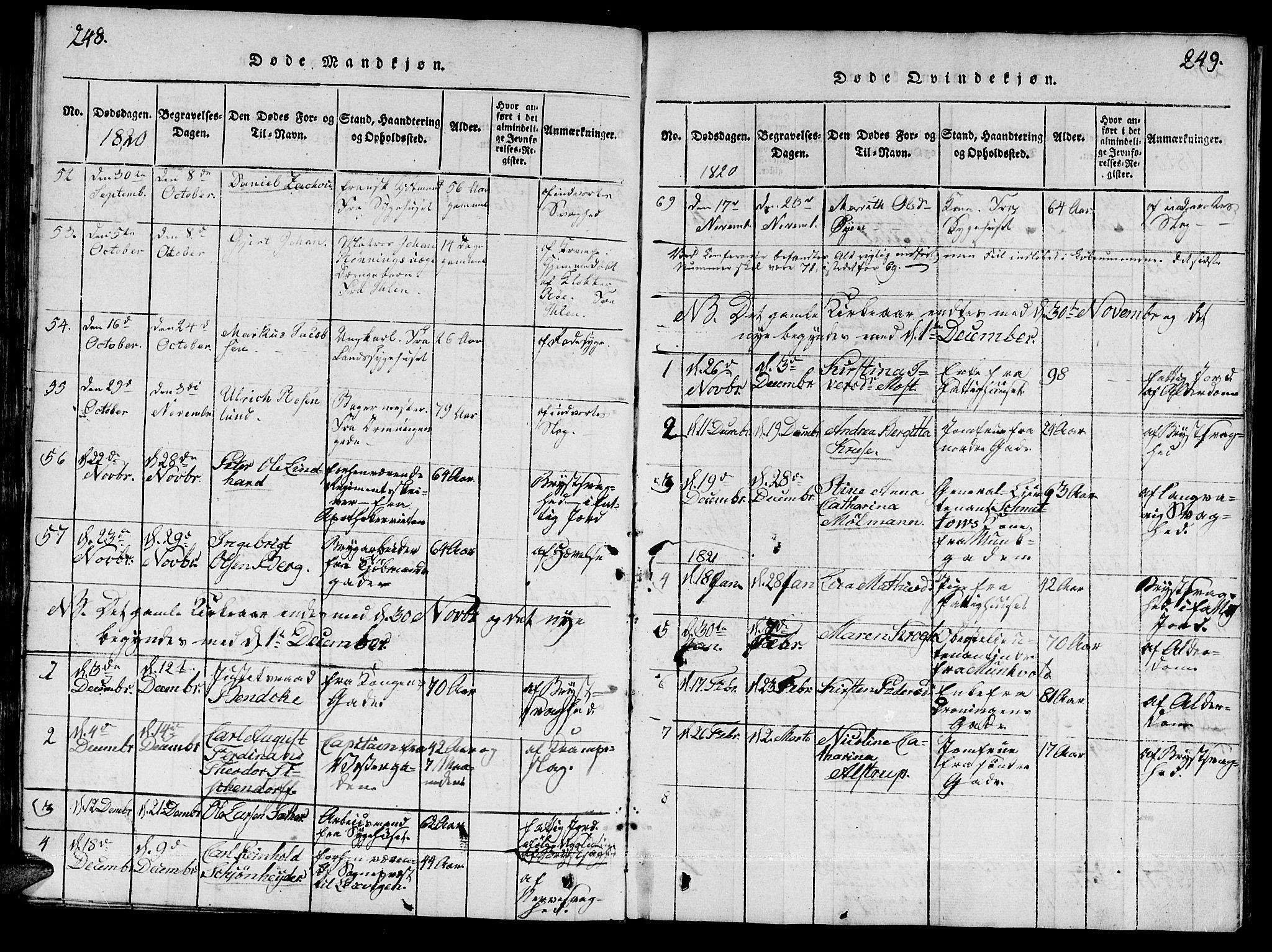 SAT, Ministerialprotokoller, klokkerbøker og fødselsregistre - Sør-Trøndelag, 601/L0043: Ministerialbok nr. 601A11, 1815-1821, s. 248-249