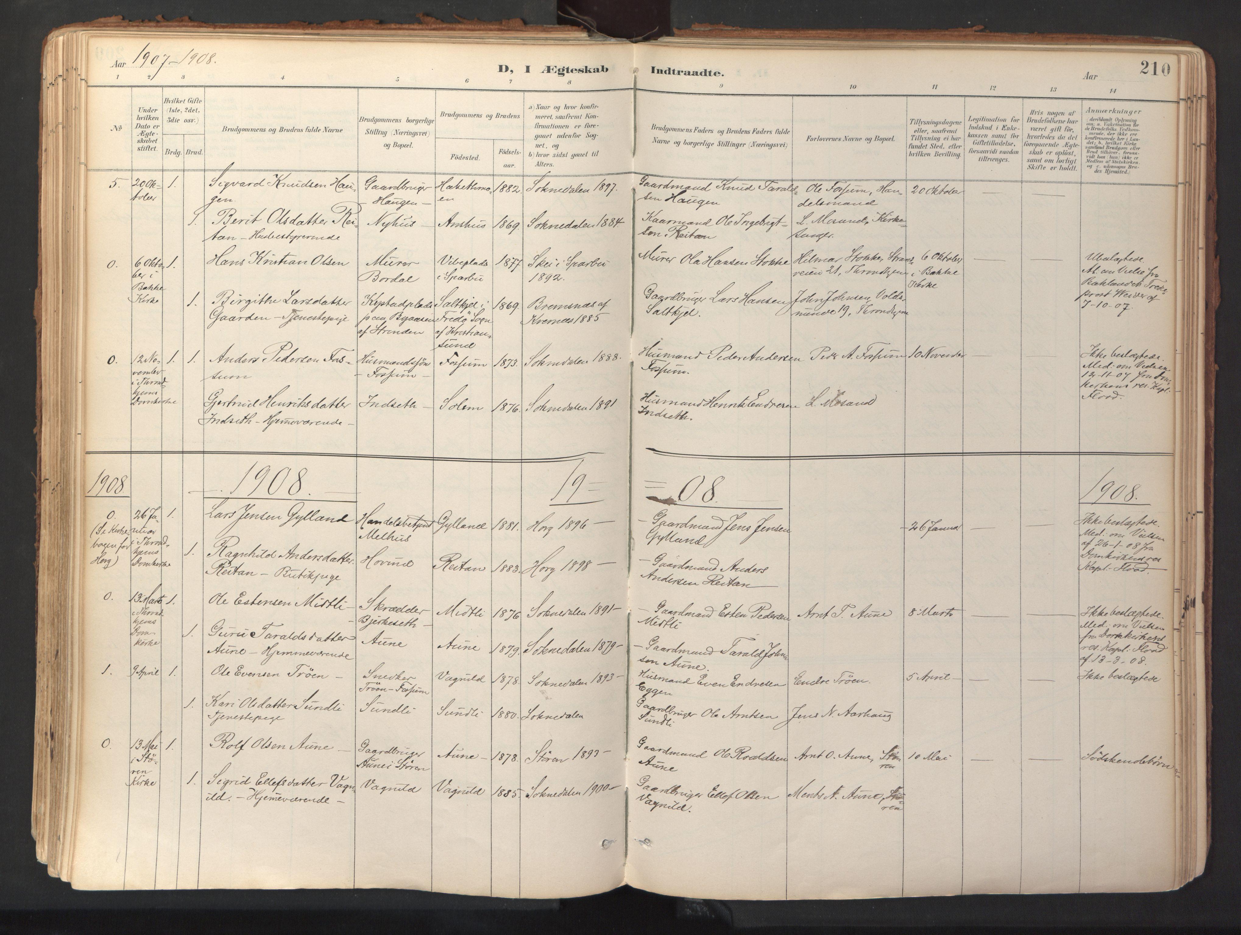 SAT, Ministerialprotokoller, klokkerbøker og fødselsregistre - Sør-Trøndelag, 689/L1041: Ministerialbok nr. 689A06, 1891-1923, s. 210