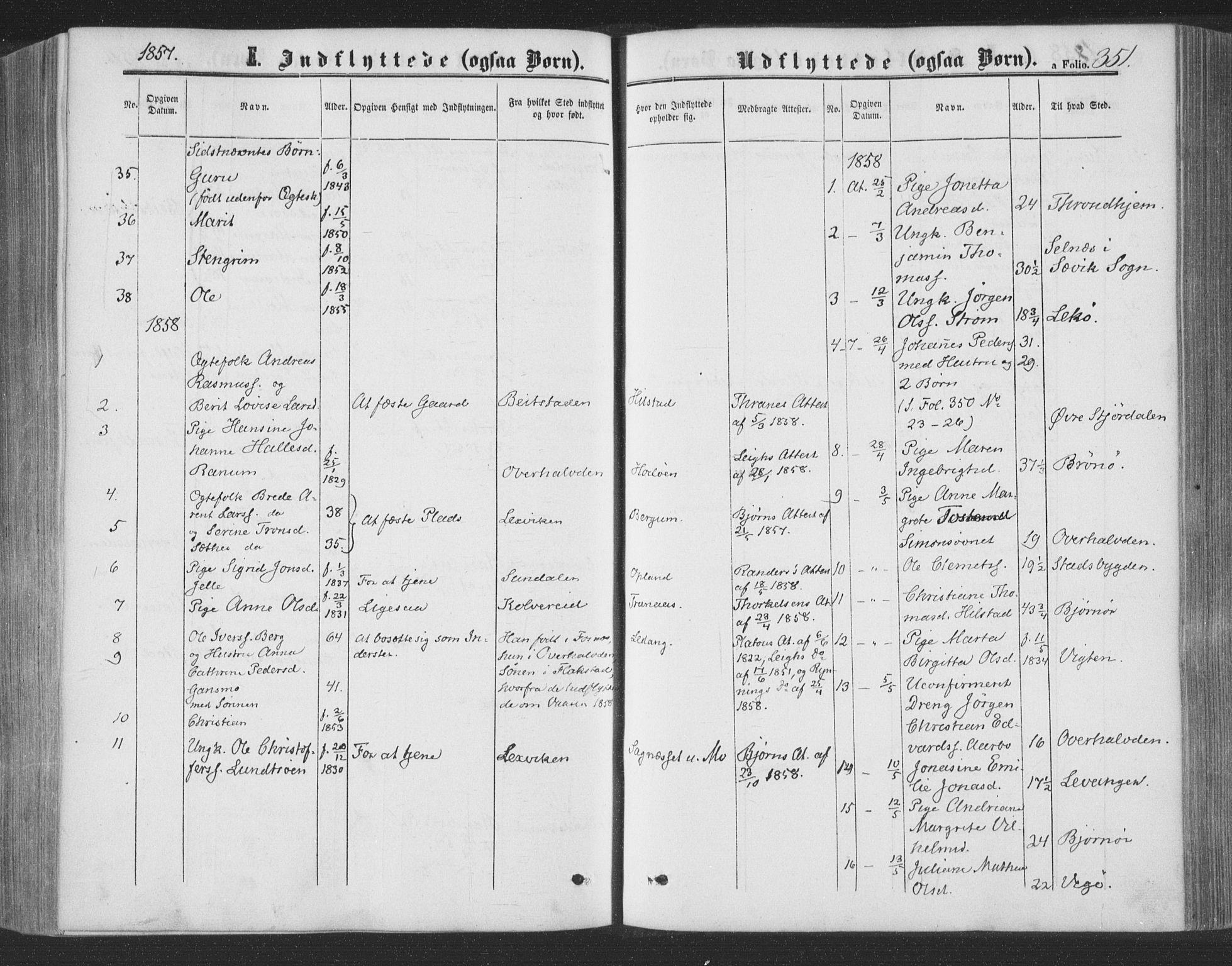 SAT, Ministerialprotokoller, klokkerbøker og fødselsregistre - Nord-Trøndelag, 773/L0615: Ministerialbok nr. 773A06, 1857-1870, s. 351