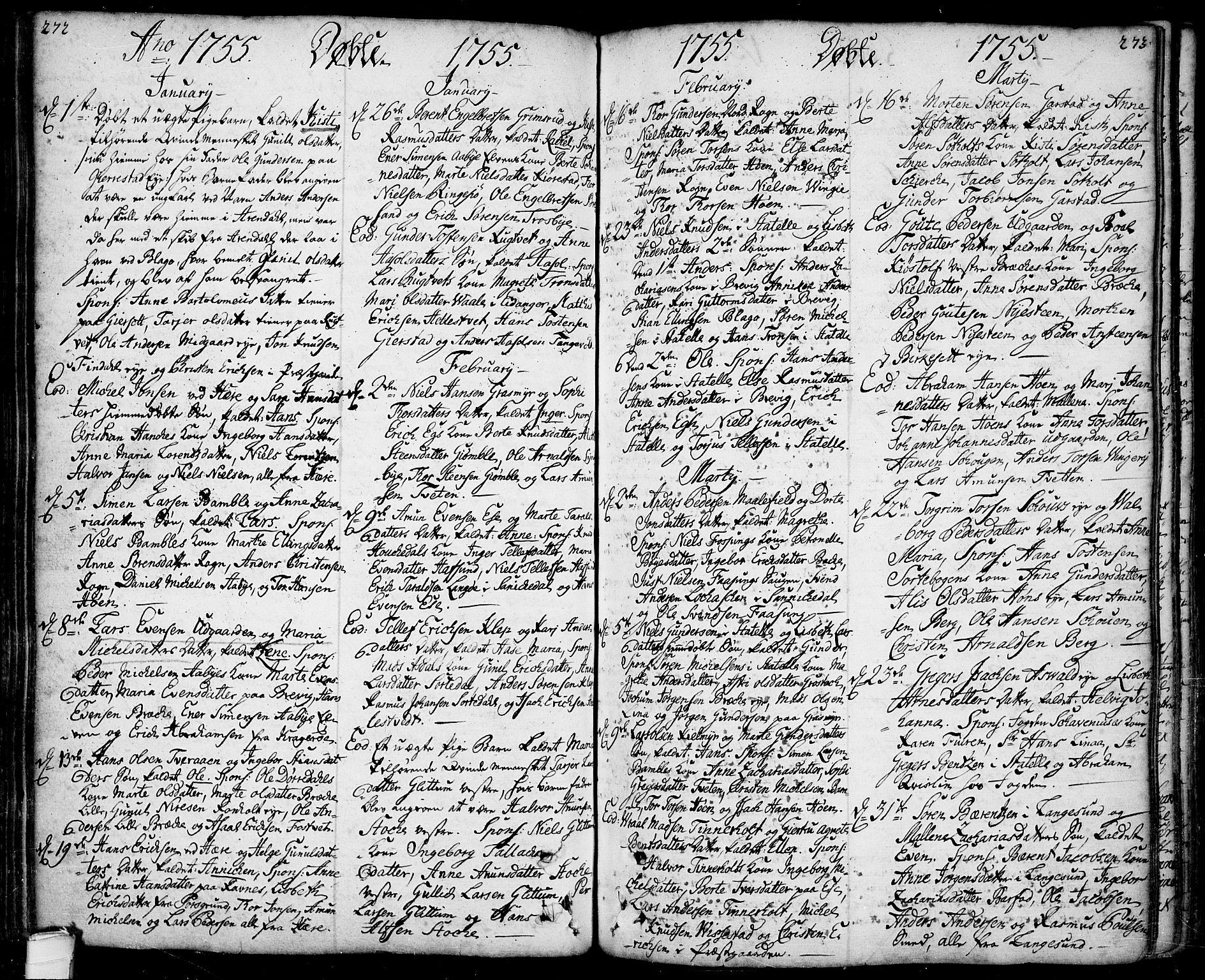 SAKO, Bamble kirkebøker, F/Fa/L0001: Ministerialbok nr. I 1, 1702-1774, s. 272-273