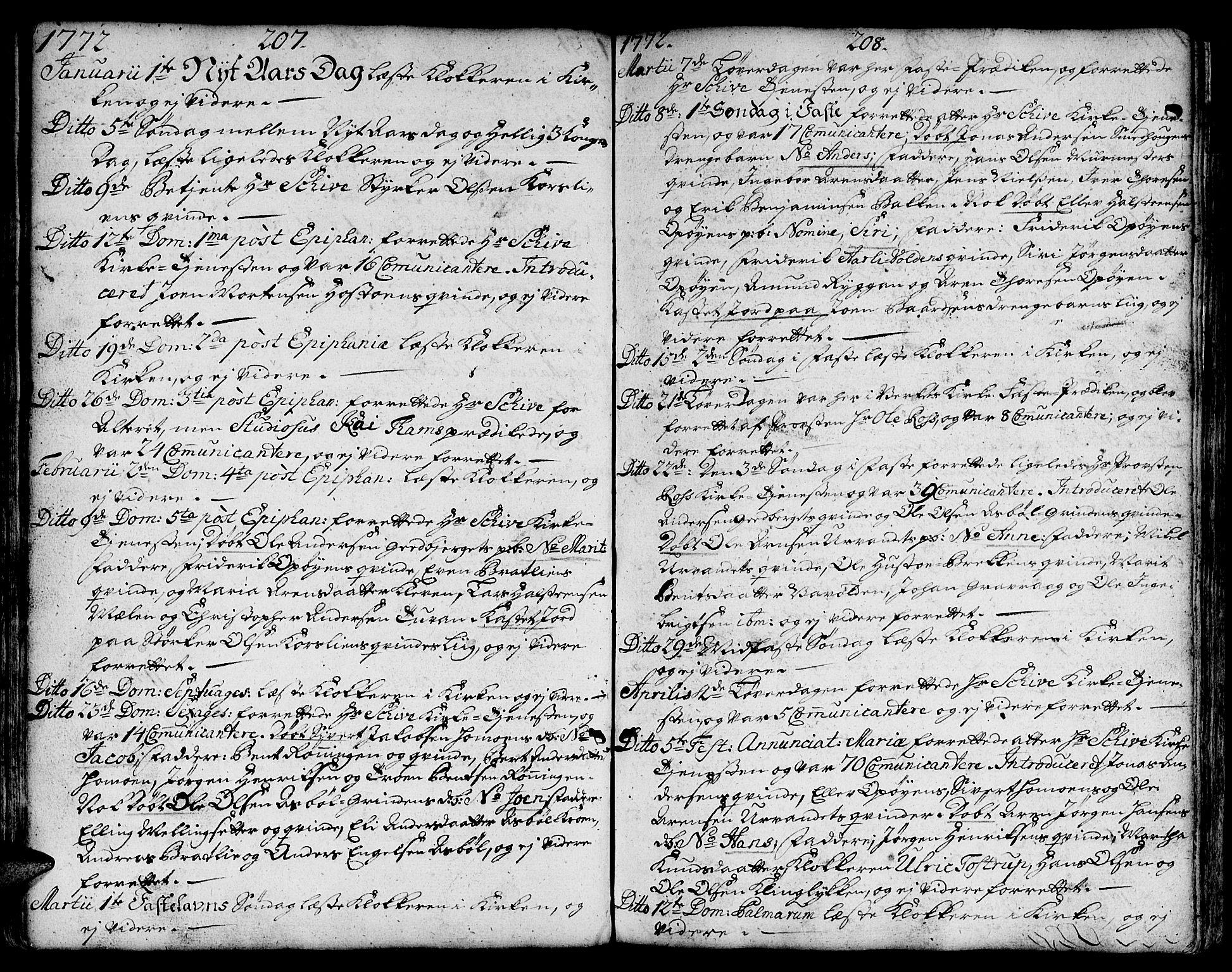 SAT, Ministerialprotokoller, klokkerbøker og fødselsregistre - Sør-Trøndelag, 671/L0840: Ministerialbok nr. 671A02, 1756-1794, s. 207-208