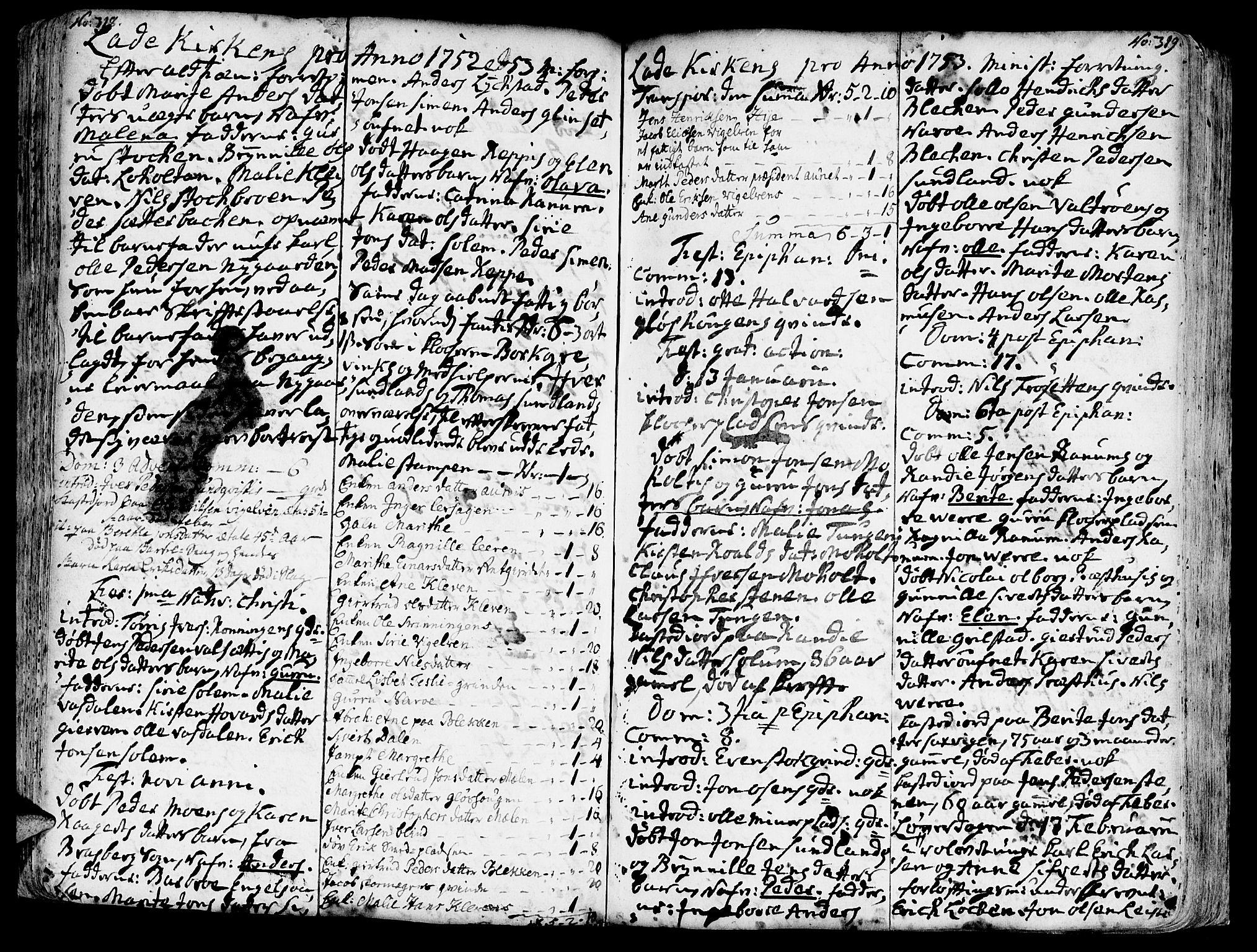 SAT, Ministerialprotokoller, klokkerbøker og fødselsregistre - Sør-Trøndelag, 606/L0275: Ministerialbok nr. 606A01 /1, 1727-1780, s. 318-319