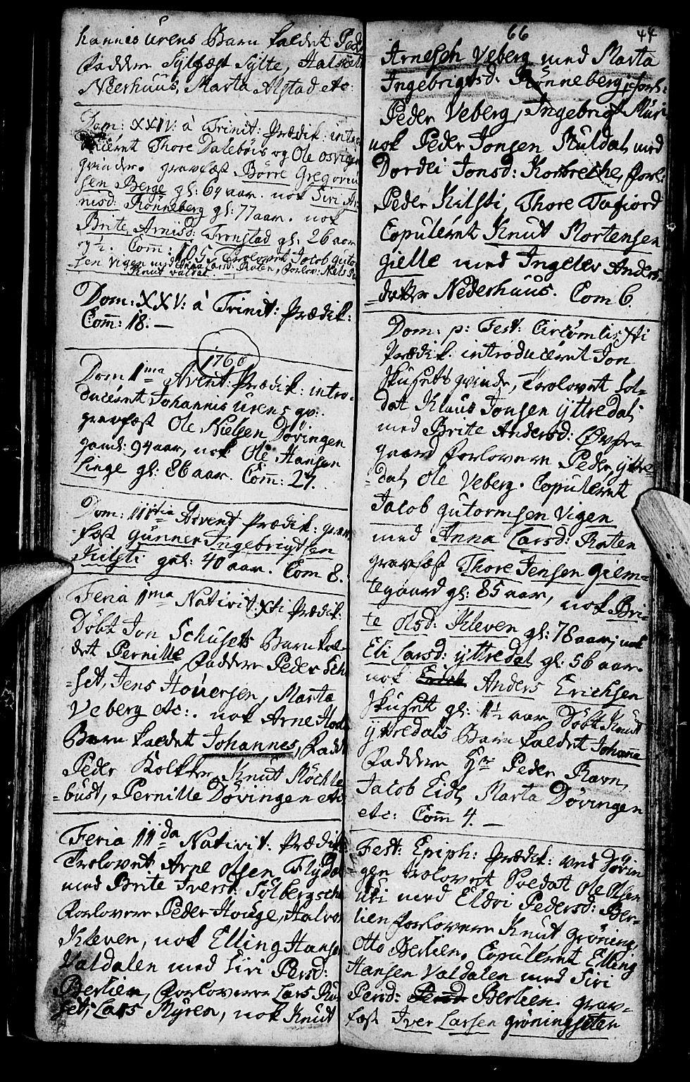 SAT, Ministerialprotokoller, klokkerbøker og fødselsregistre - Møre og Romsdal, 519/L0243: Ministerialbok nr. 519A02, 1760-1770, s. 43-44