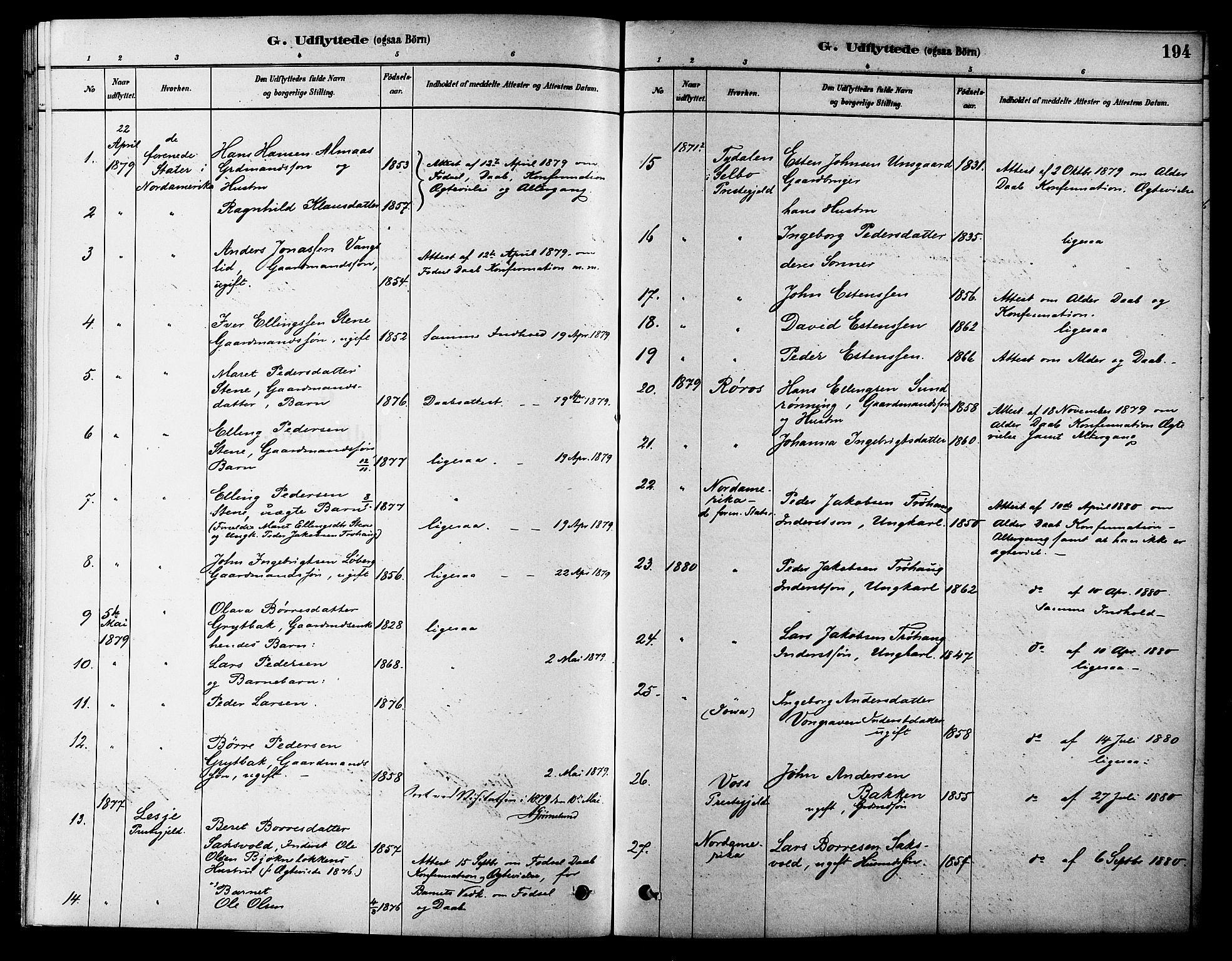SAT, Ministerialprotokoller, klokkerbøker og fødselsregistre - Sør-Trøndelag, 686/L0983: Ministerialbok nr. 686A01, 1879-1890, s. 194