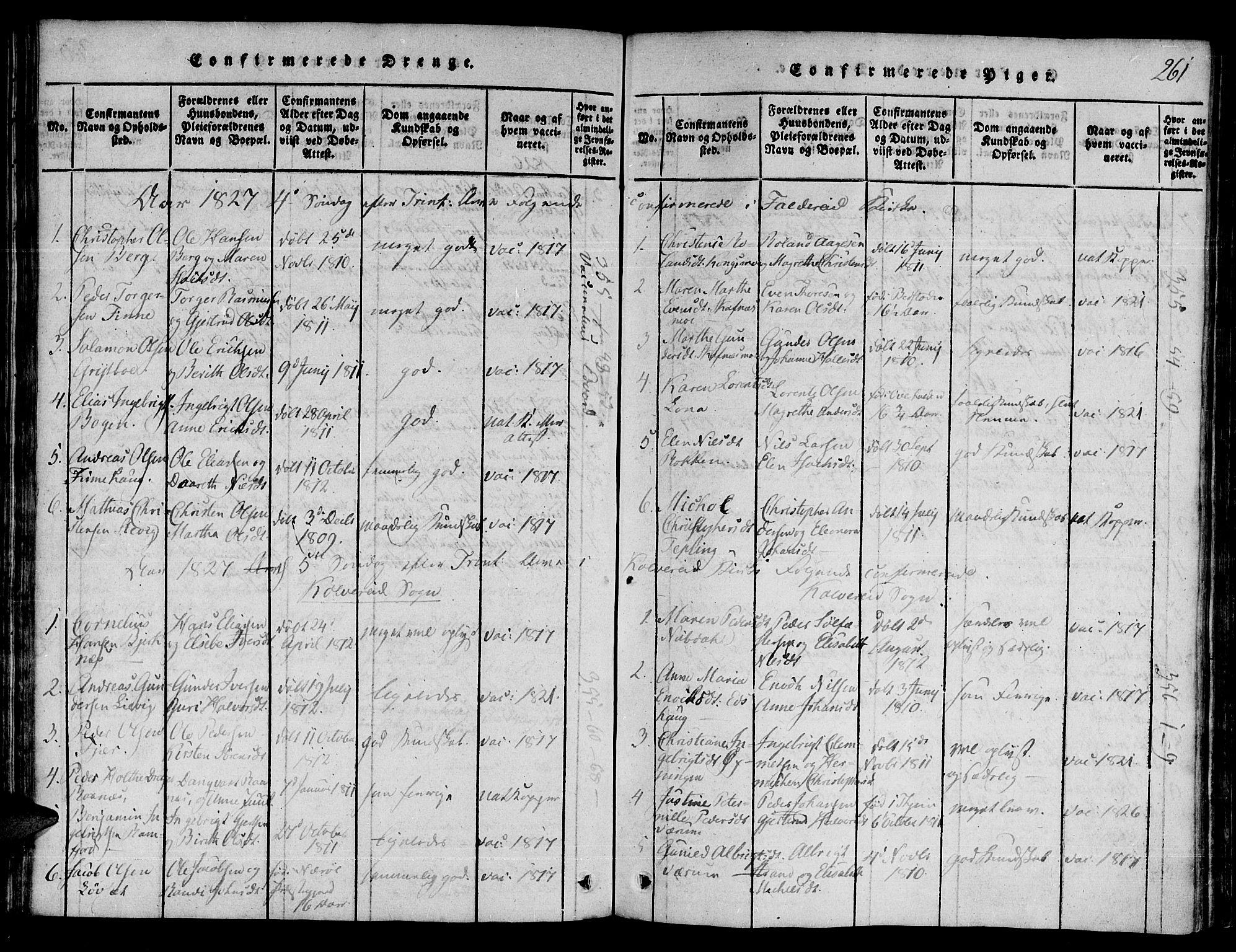 SAT, Ministerialprotokoller, klokkerbøker og fødselsregistre - Nord-Trøndelag, 780/L0636: Ministerialbok nr. 780A03 /1, 1815-1830, s. 261