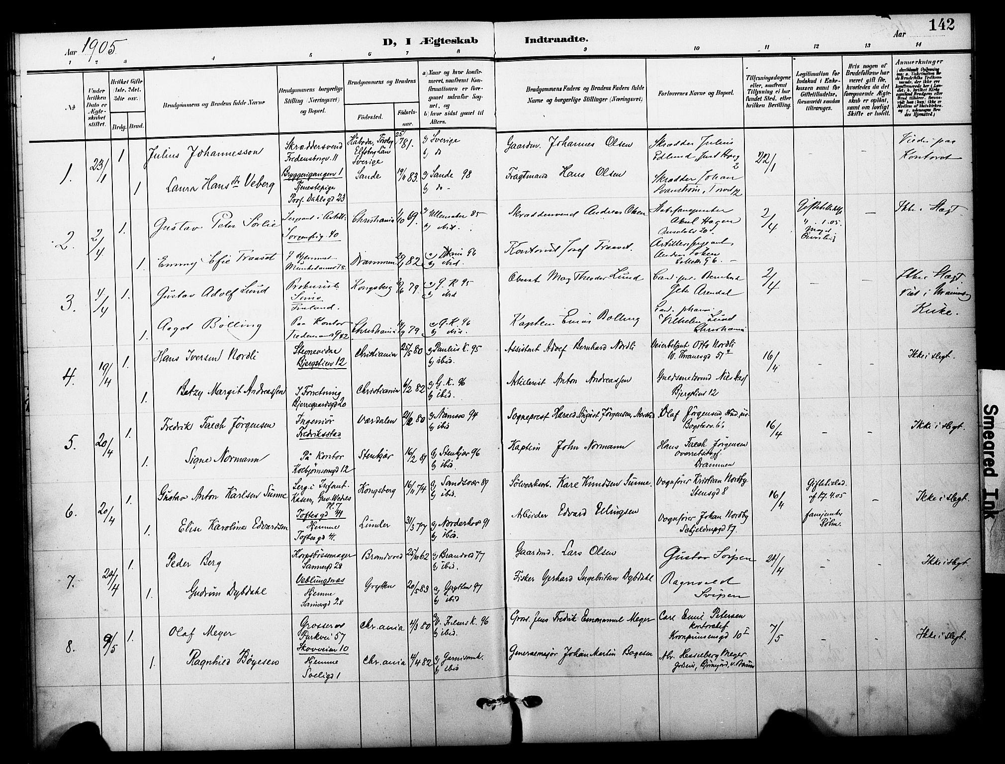 SAO, Garnisonsmenigheten Kirkebøker, F/Fa/L0014: Ministerialbok nr. 14, 1905-1914, s. 142