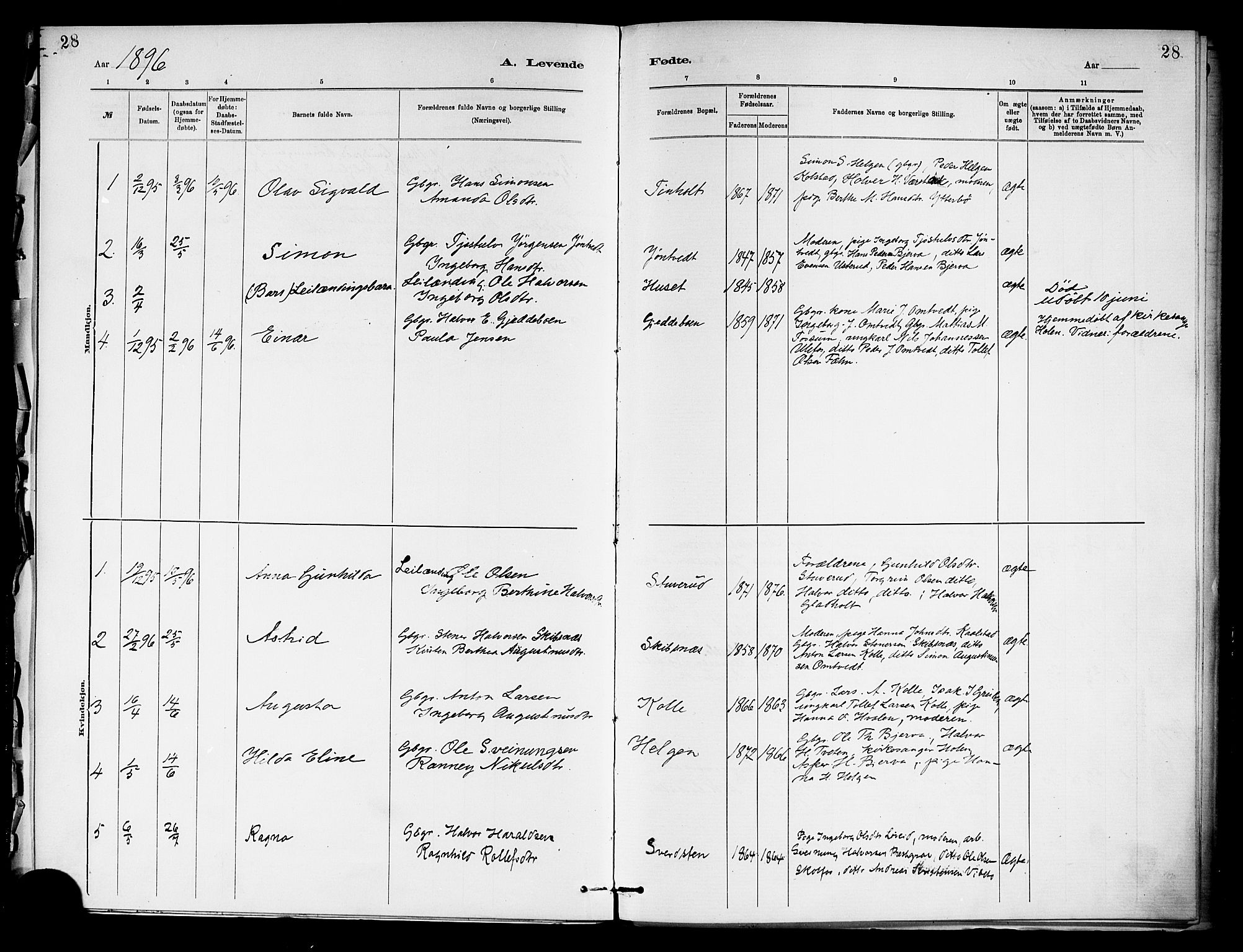 SAKO, Holla kirkebøker, F/Fa/L0009: Ministerialbok nr. 9, 1881-1897, s. 28