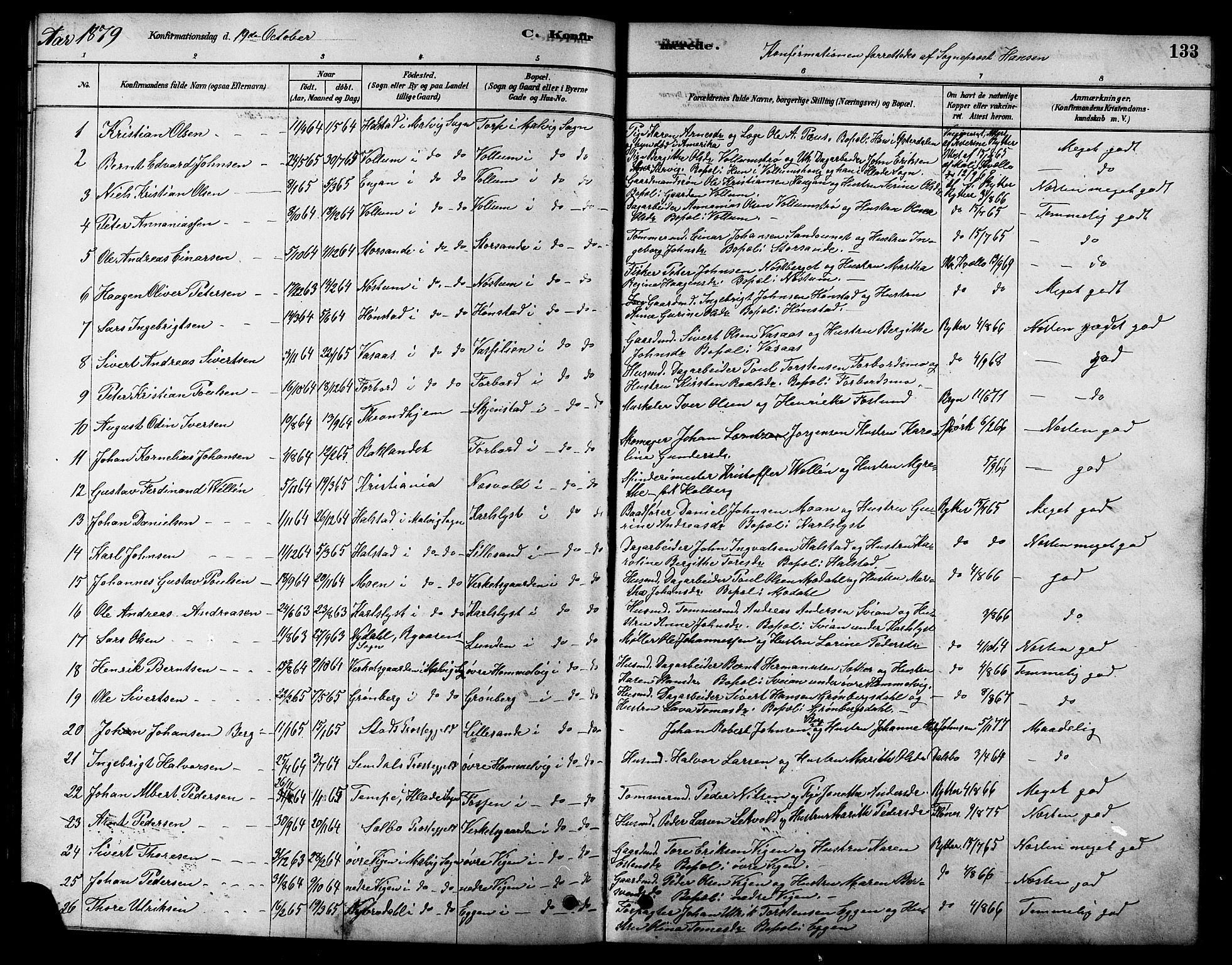 SAT, Ministerialprotokoller, klokkerbøker og fødselsregistre - Sør-Trøndelag, 616/L0423: Klokkerbok nr. 616C06, 1878-1903, s. 133