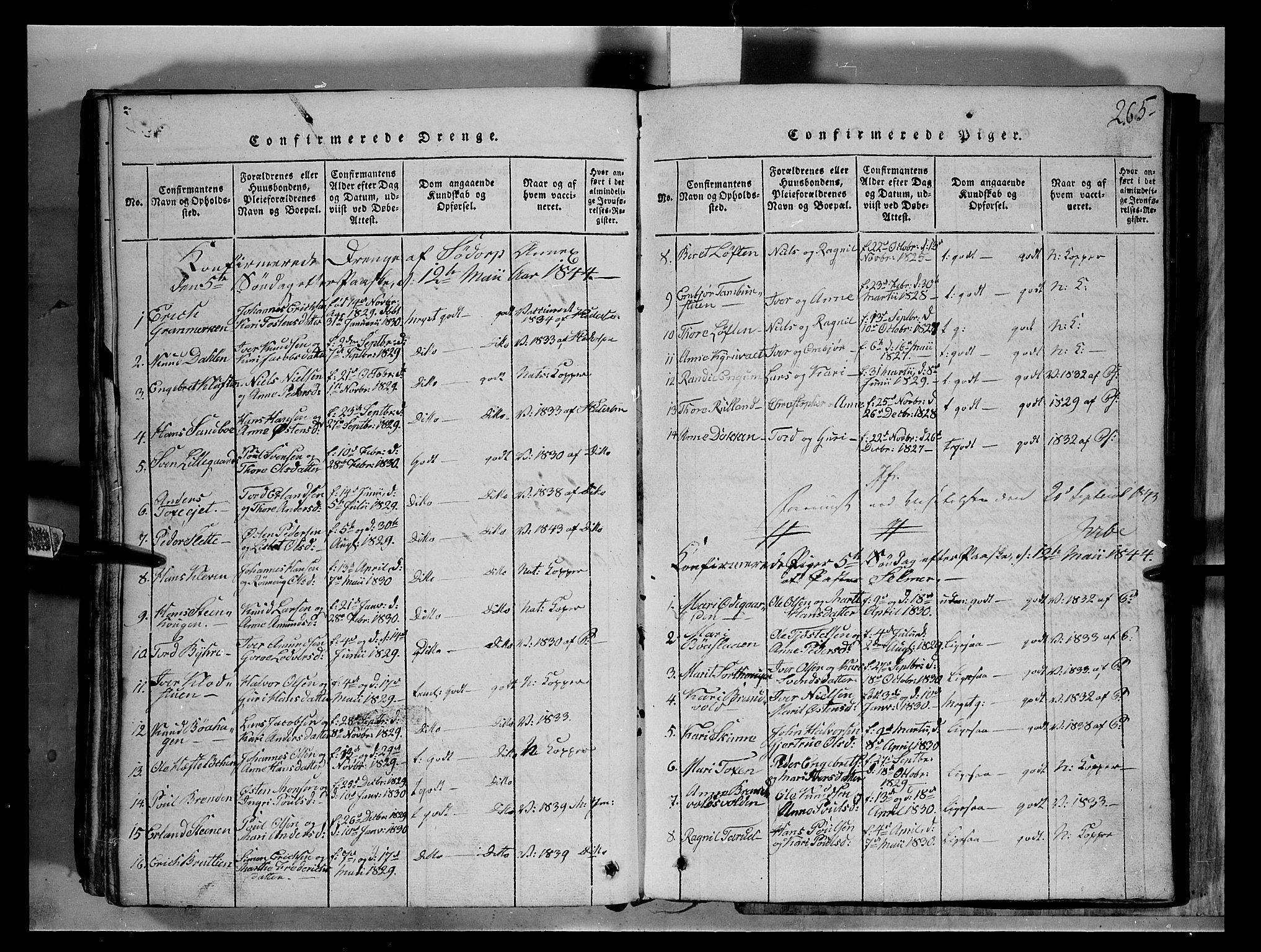 SAH, Fron prestekontor, H/Ha/Hab/L0004: Klokkerbok nr. 4, 1816-1850, s. 265