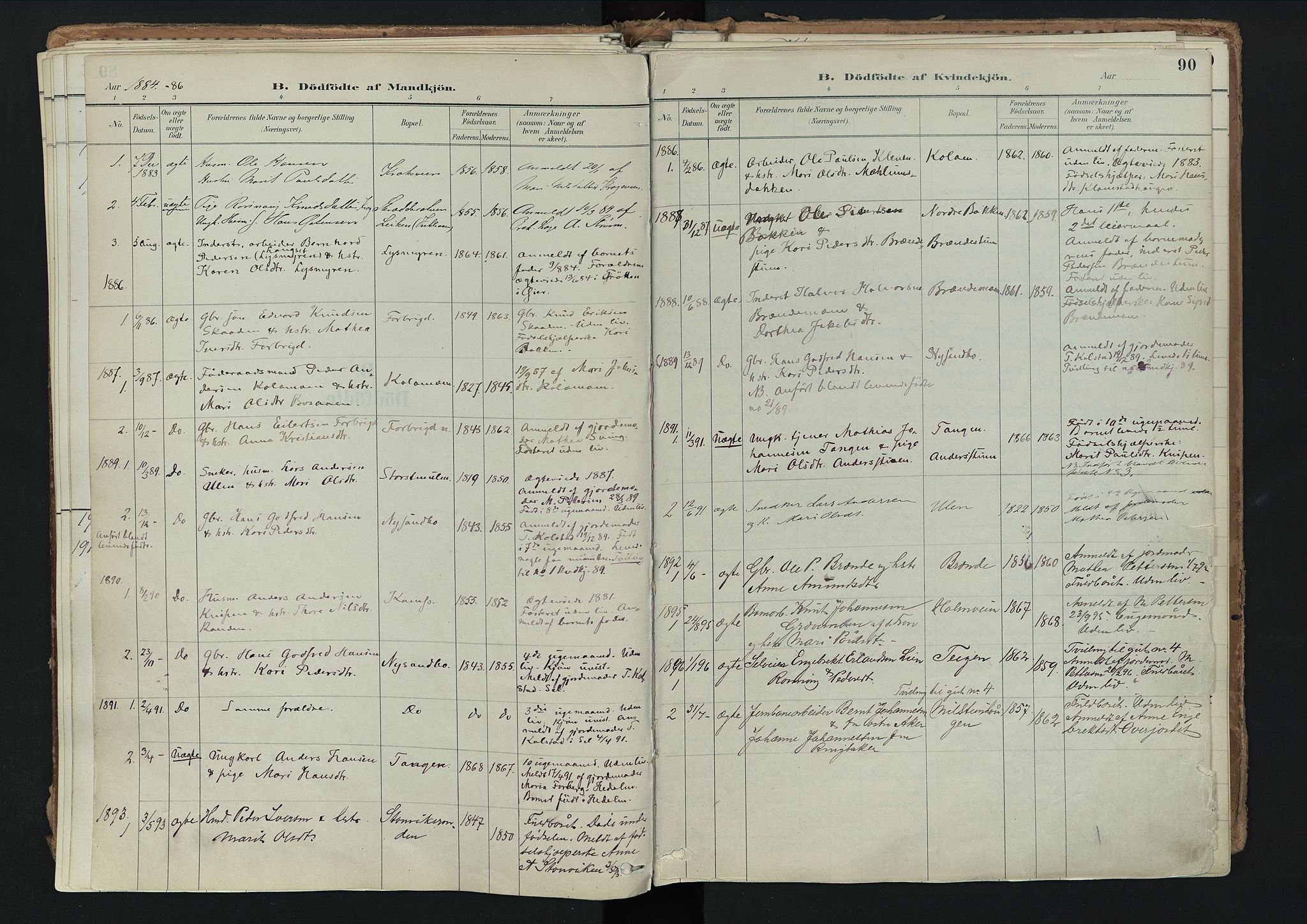 SAH, Nord-Fron prestekontor, Ministerialbok nr. 3, 1884-1914, s. 90