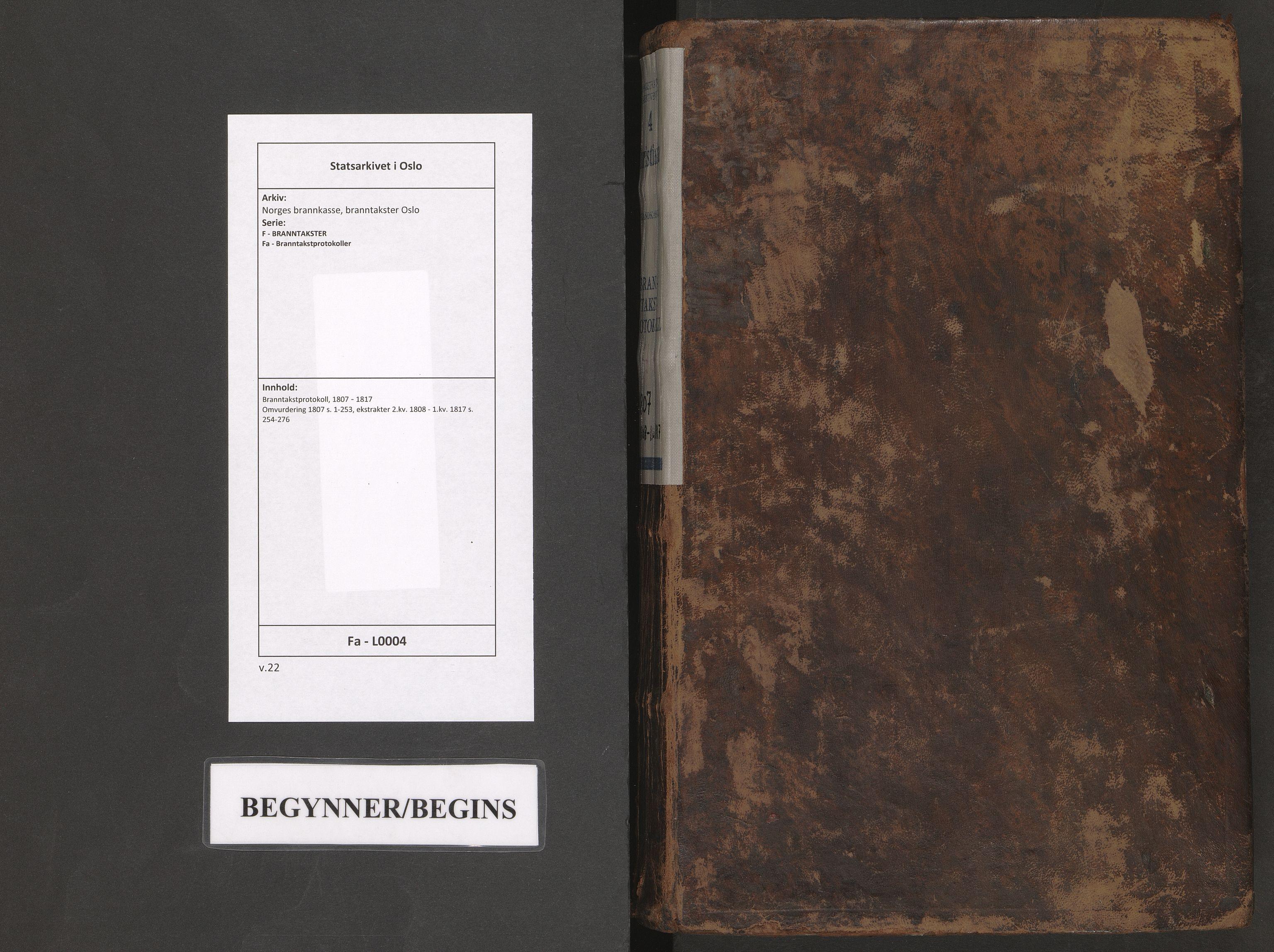 SAO, Norges brannkasse, branntakster Oslo, F/Fa/L0004: Branntakstprotokoll, 1807-1817