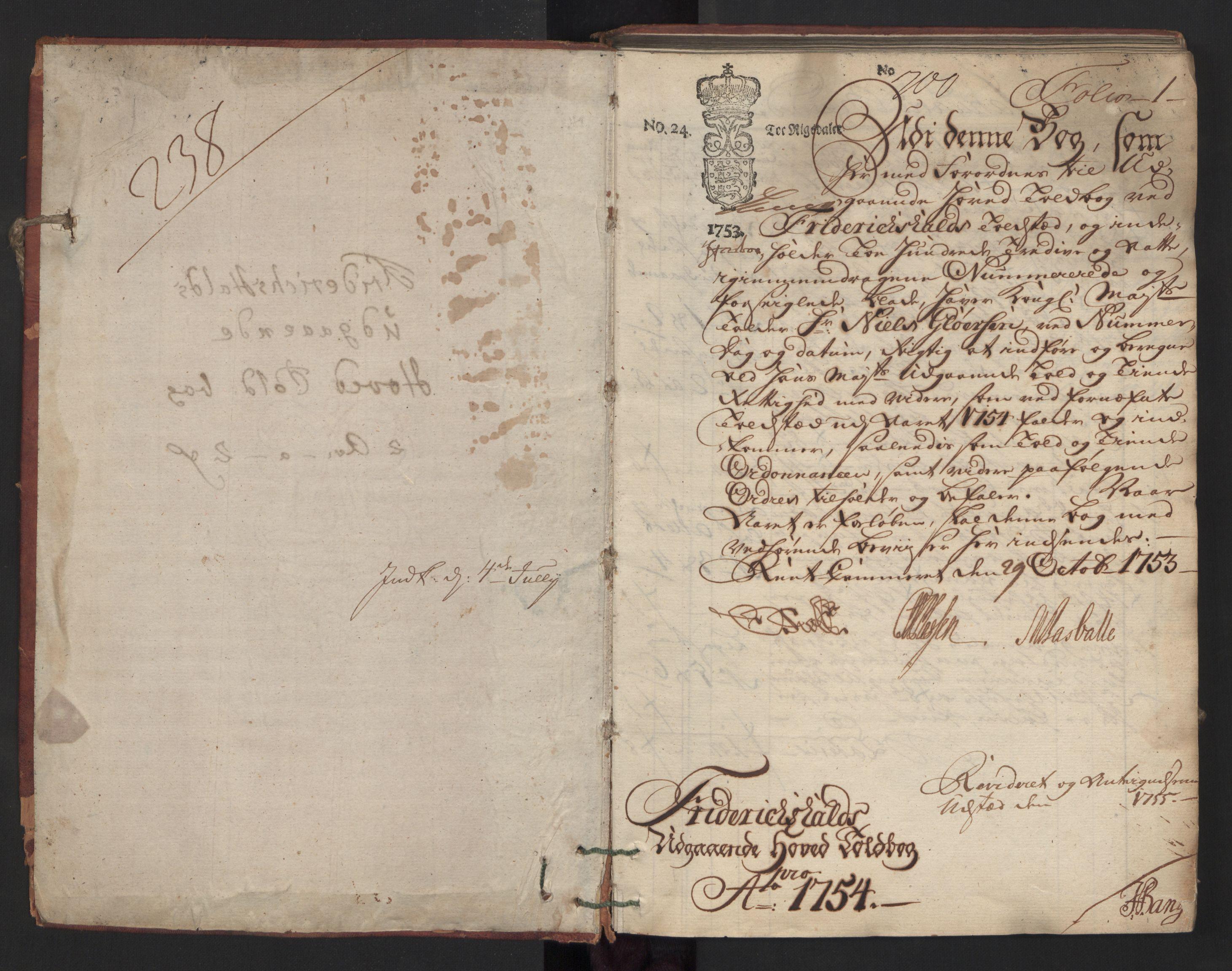 RA, Generaltollkammeret, tollregnskaper, R01/L0023: Tollregnskaper Fredrikshald, 1754