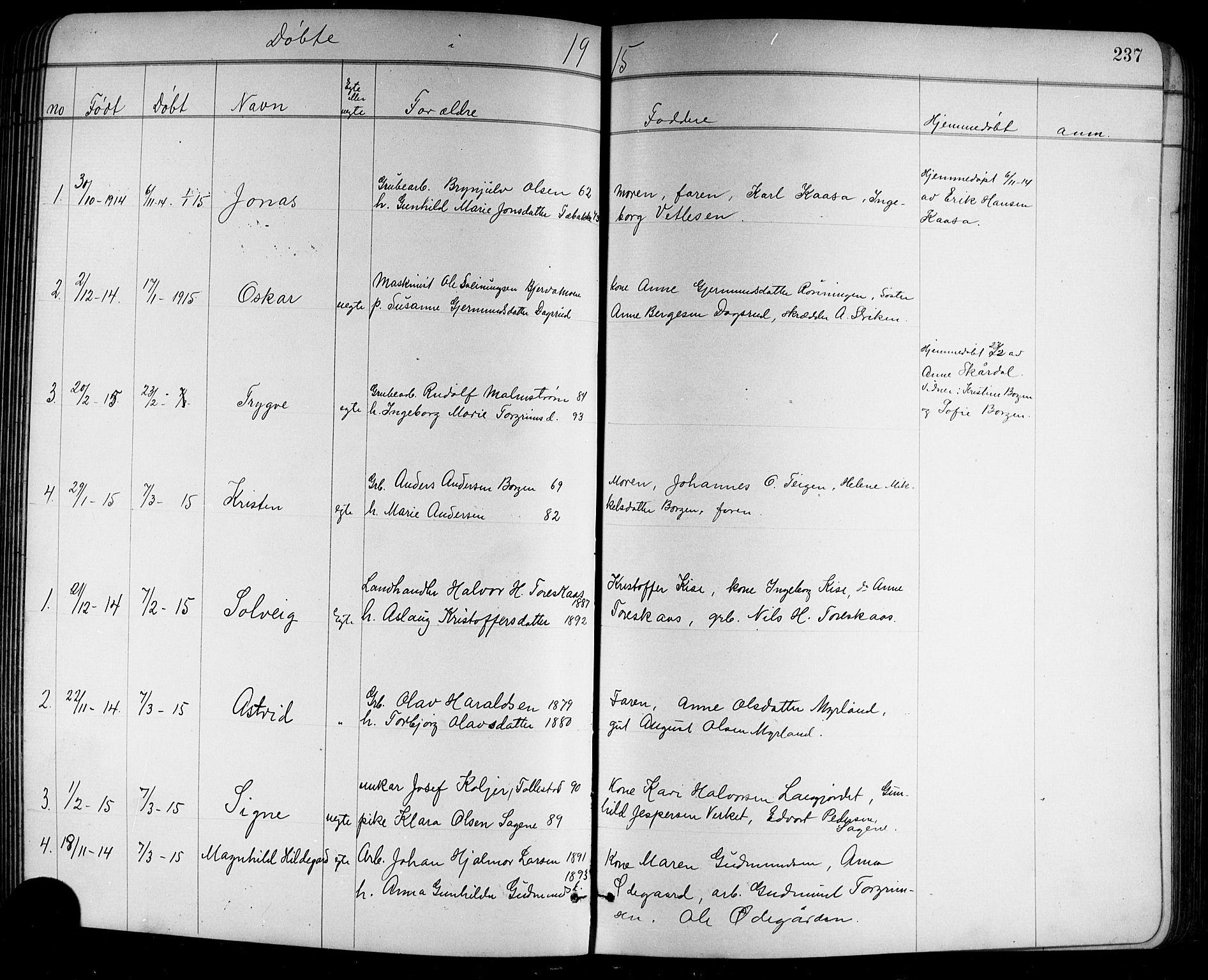 SAKO, Holla kirkebøker, G/Ga/L0005: Klokkerbok nr. I 5, 1891-1917, s. 237