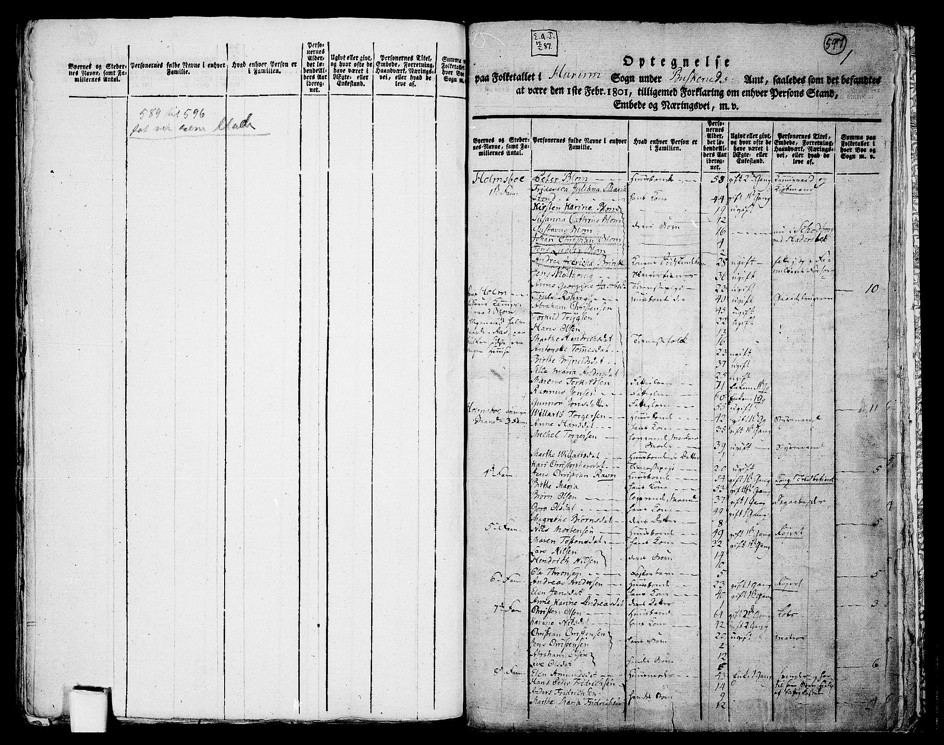 RA, Folketelling 1801 for 0628P Hurum prestegjeld, 1801, s. 597a