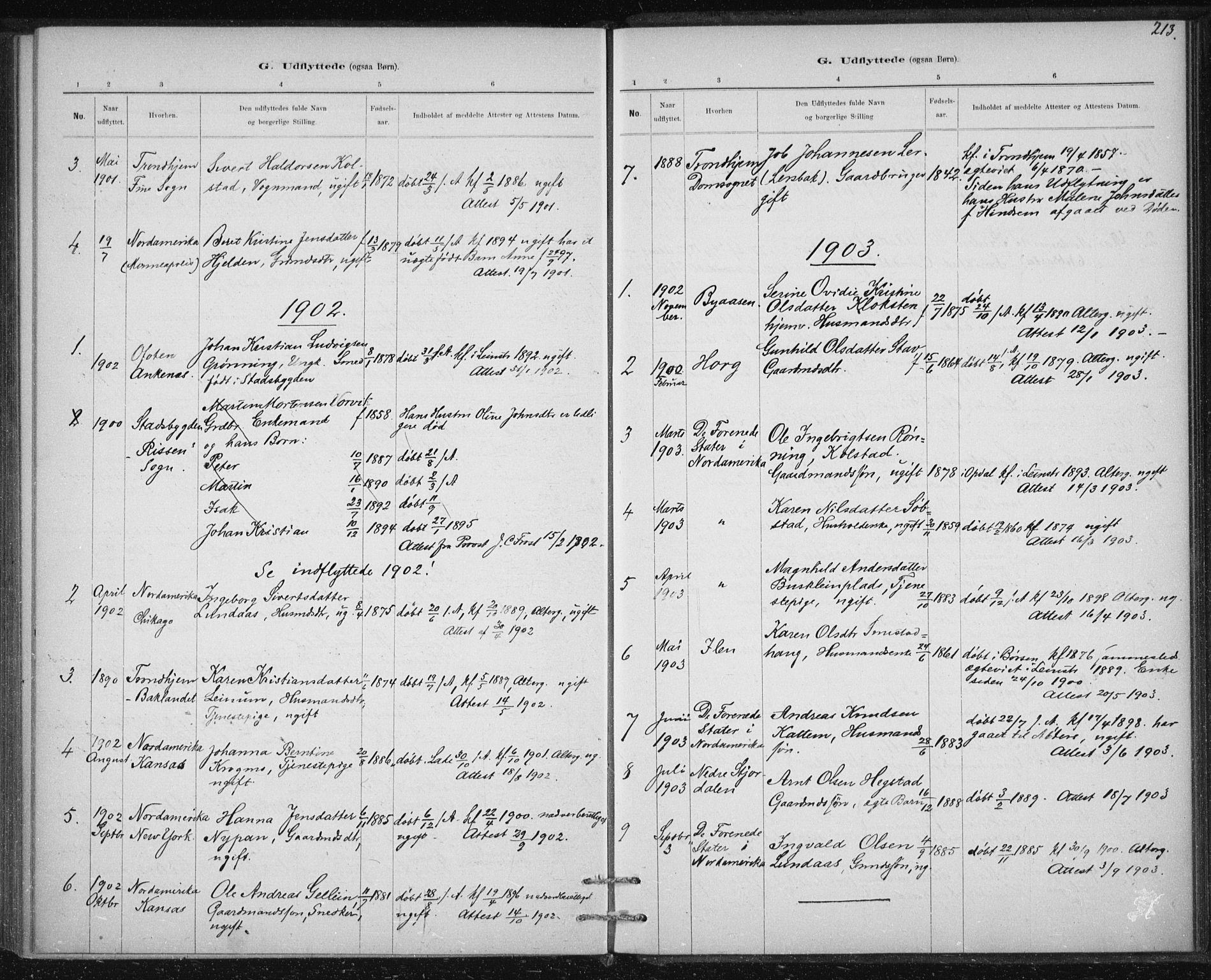 SAT, Ministerialprotokoller, klokkerbøker og fødselsregistre - Sør-Trøndelag, 613/L0392: Ministerialbok nr. 613A01, 1887-1906, s. 213
