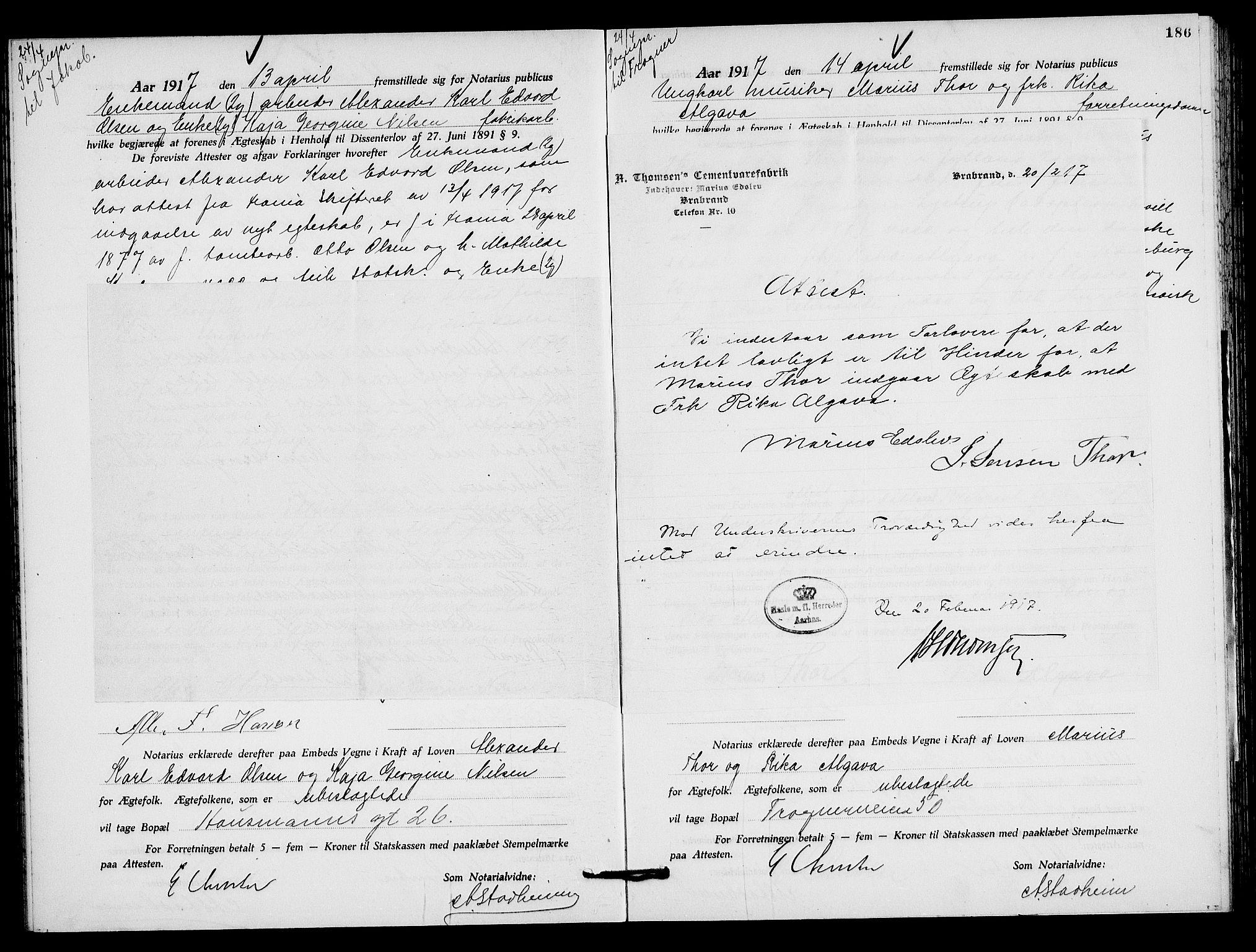 SAO, Oslo byfogd avd. I, L/Lb/Lbb/L0011: Notarialprotokoll, rekke II: Vigsler, 1916-1918, s. 185b-186a