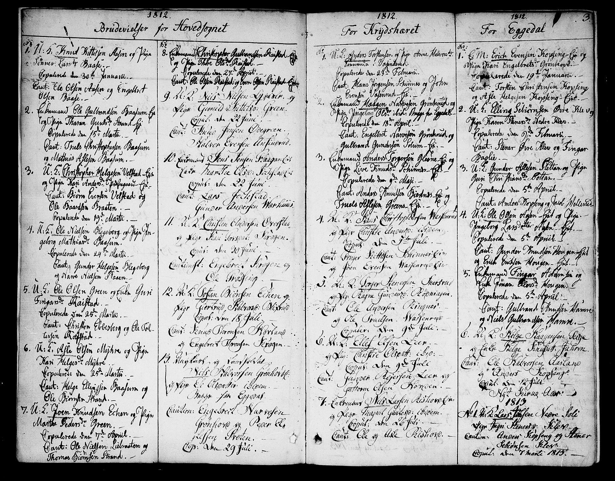 SAKO, Sigdal kirkebøker, F/Fa/L0004: Ministerialbok nr. I 4, 1812-1815, s. 3