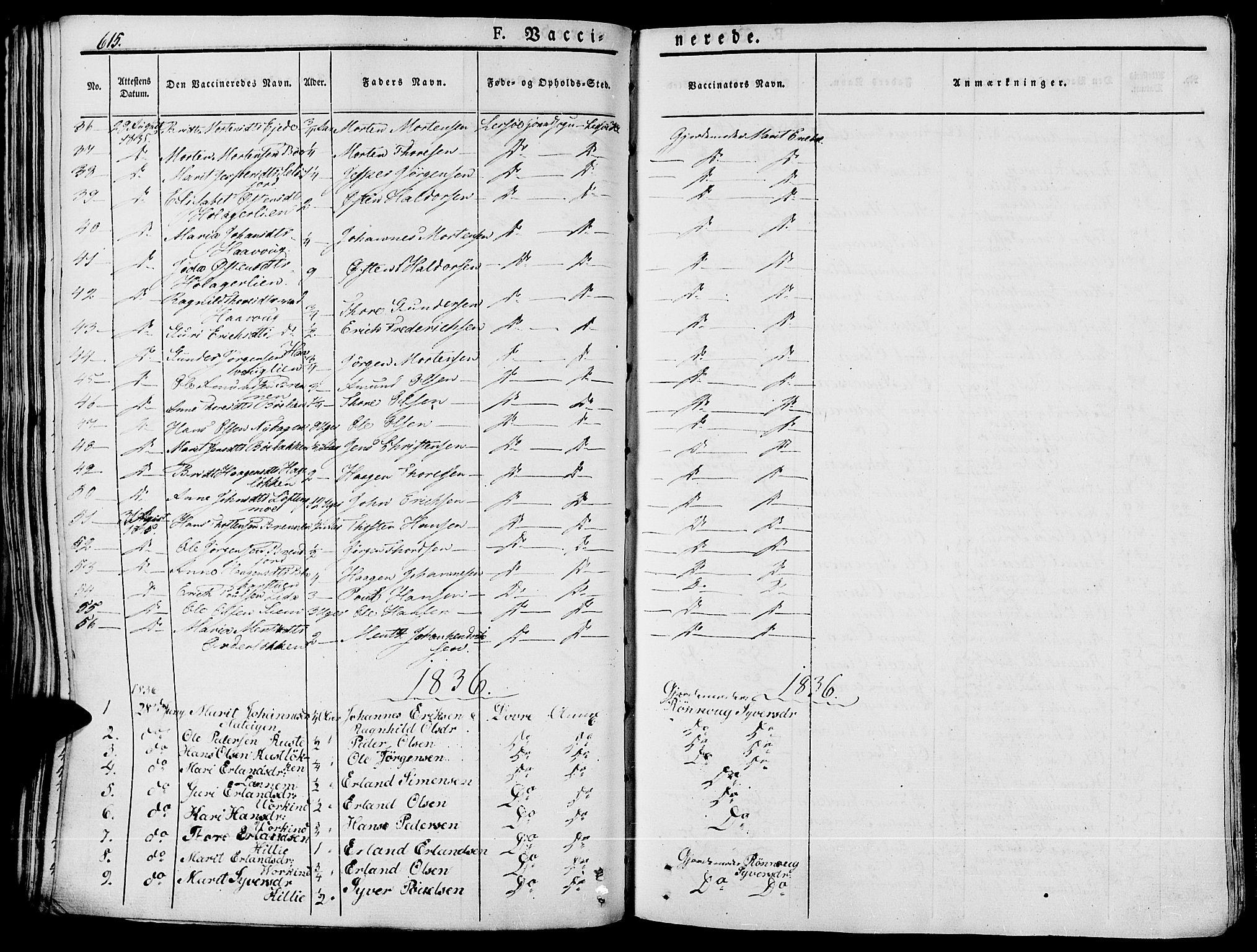 SAH, Lesja prestekontor, Ministerialbok nr. 5, 1830-1842, s. 615