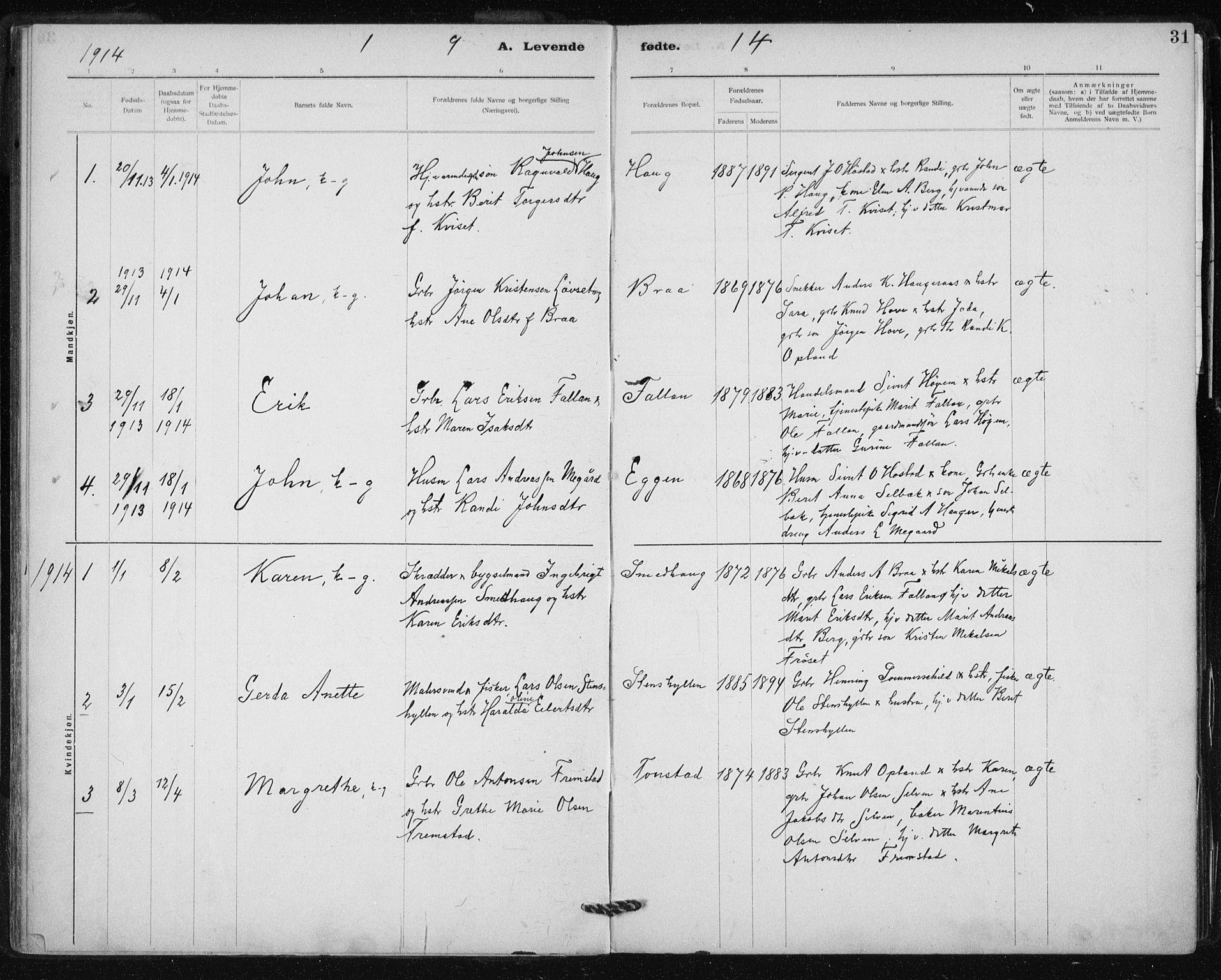 SAT, Ministerialprotokoller, klokkerbøker og fødselsregistre - Sør-Trøndelag, 612/L0381: Ministerialbok nr. 612A13, 1907-1923, s. 31