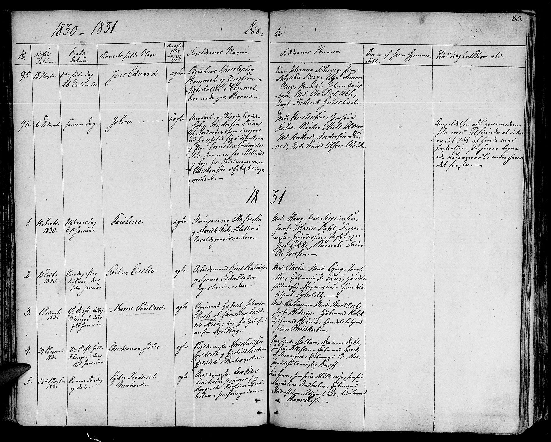 SAT, Ministerialprotokoller, klokkerbøker og fødselsregistre - Sør-Trøndelag, 602/L0108: Ministerialbok nr. 602A06, 1821-1839, s. 80