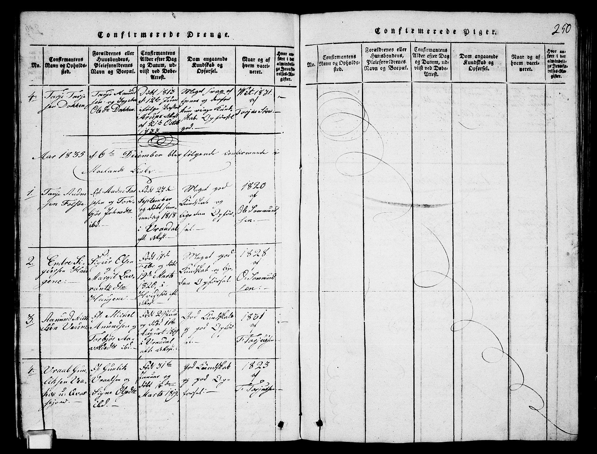 SAKO, Fyresdal kirkebøker, G/Ga/L0003: Klokkerbok nr. I 3, 1815-1863, s. 250