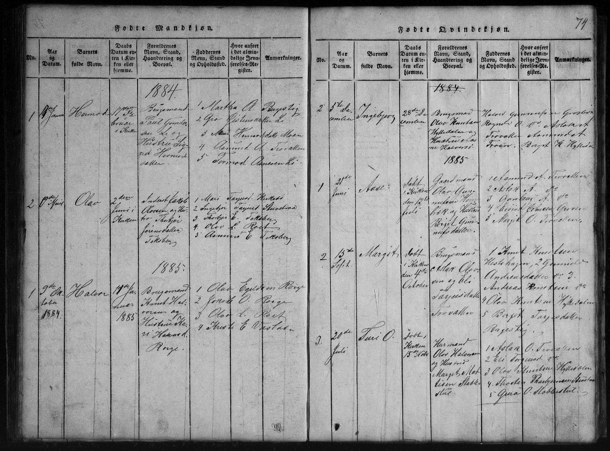 SAKO, Rauland kirkebøker, G/Gb/L0001: Klokkerbok nr. II 1, 1815-1886, s. 74
