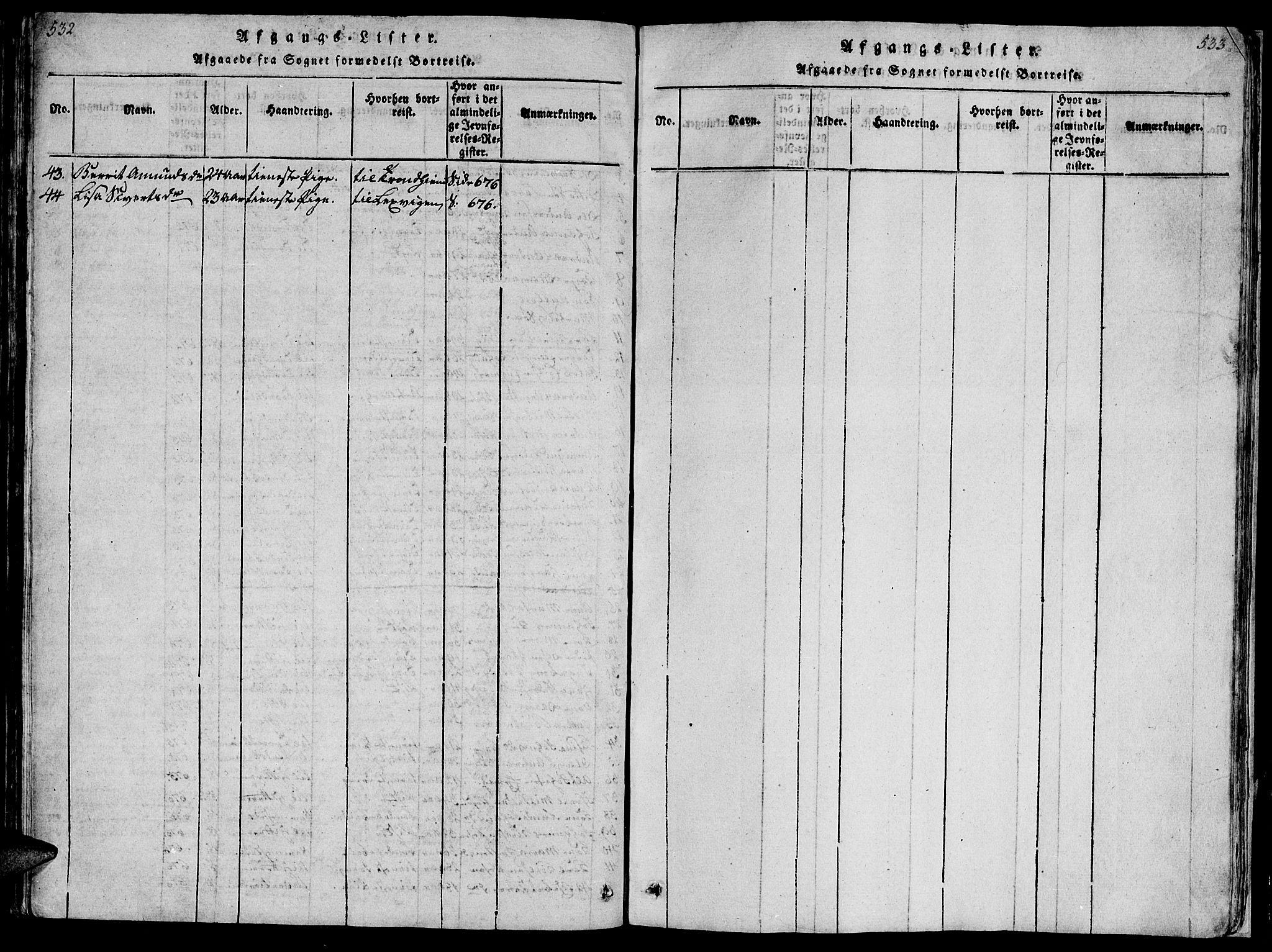 SAT, Ministerialprotokoller, klokkerbøker og fødselsregistre - Sør-Trøndelag, 659/L0744: Klokkerbok nr. 659C01, 1818-1825, s. 532-533