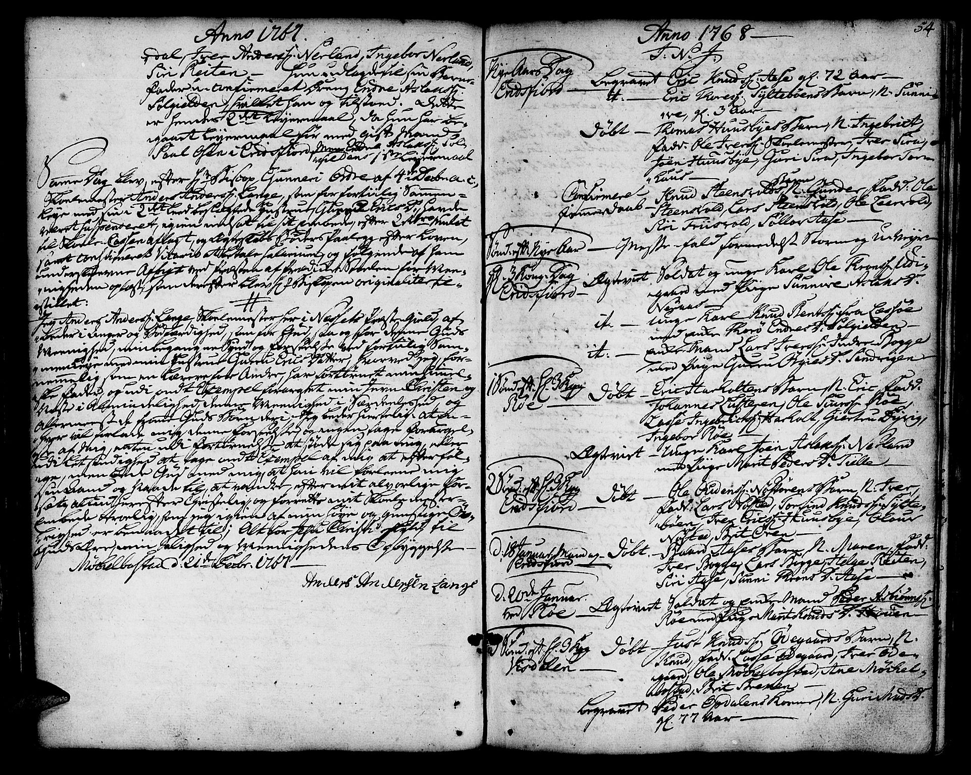 SAT, Ministerialprotokoller, klokkerbøker og fødselsregistre - Møre og Romsdal, 551/L0621: Ministerialbok nr. 551A01, 1757-1803, s. 54