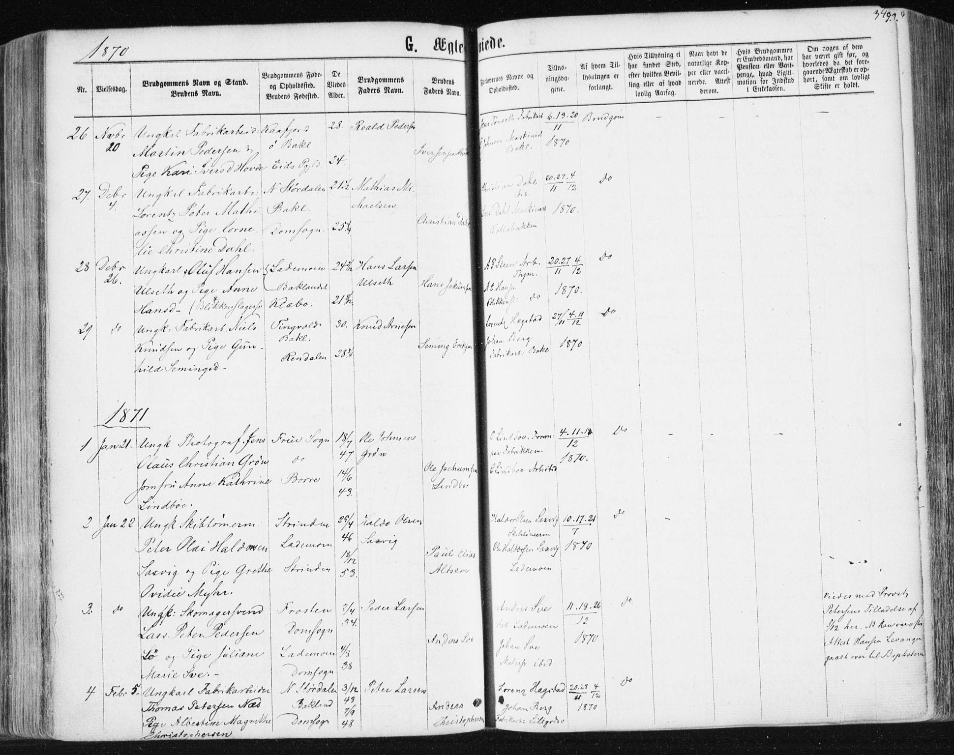 SAT, Ministerialprotokoller, klokkerbøker og fødselsregistre - Sør-Trøndelag, 604/L0186: Ministerialbok nr. 604A07, 1866-1877, s. 349
