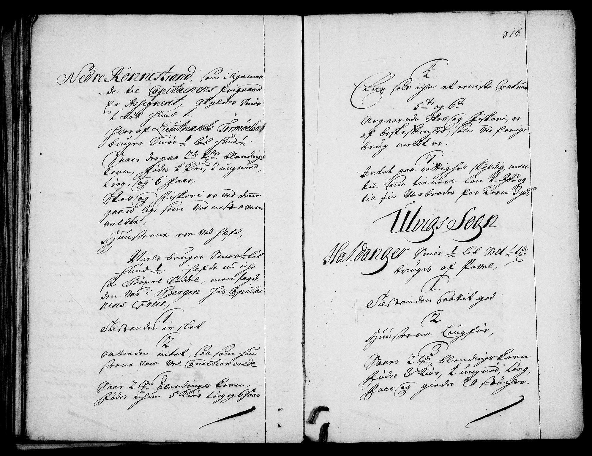 RA, Rentekammeret inntil 1814, Realistisk ordnet avdeling, On/L0003: [Jj 4]: Kommisjonsforretning over Vilhelm Hanssøns forpaktning av Halsnøy klosters gods, 1712-1722, s. 315b-316a