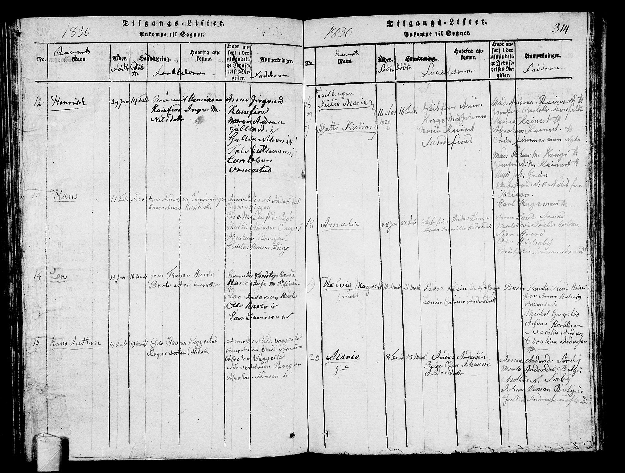 SAKO, Sandar kirkebøker, G/Ga/L0001: Klokkerbok nr. 1, 1814-1835, s. 314