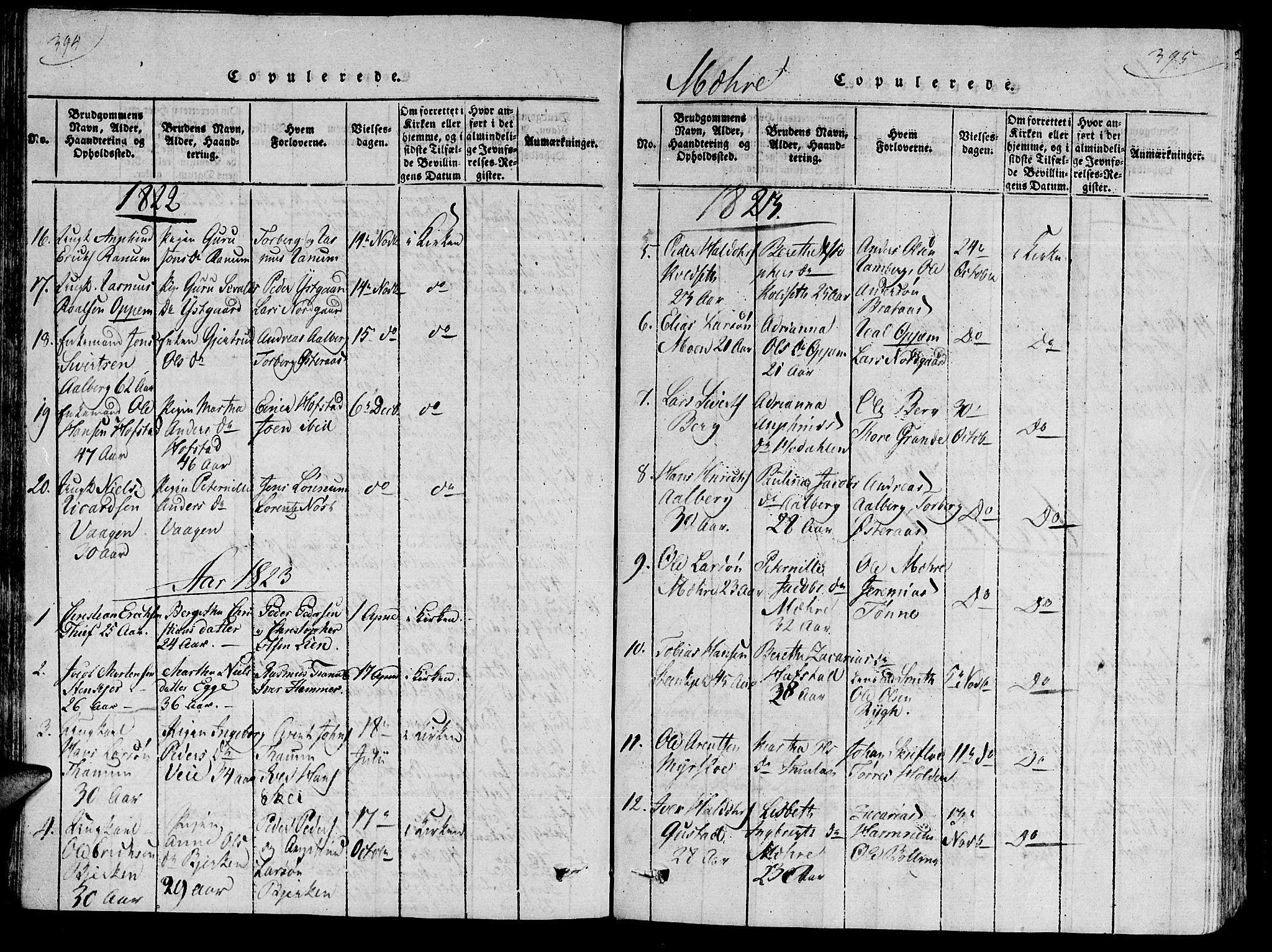 SAT, Ministerialprotokoller, klokkerbøker og fødselsregistre - Nord-Trøndelag, 735/L0333: Ministerialbok nr. 735A04 /1, 1816-1824, s. 394-395