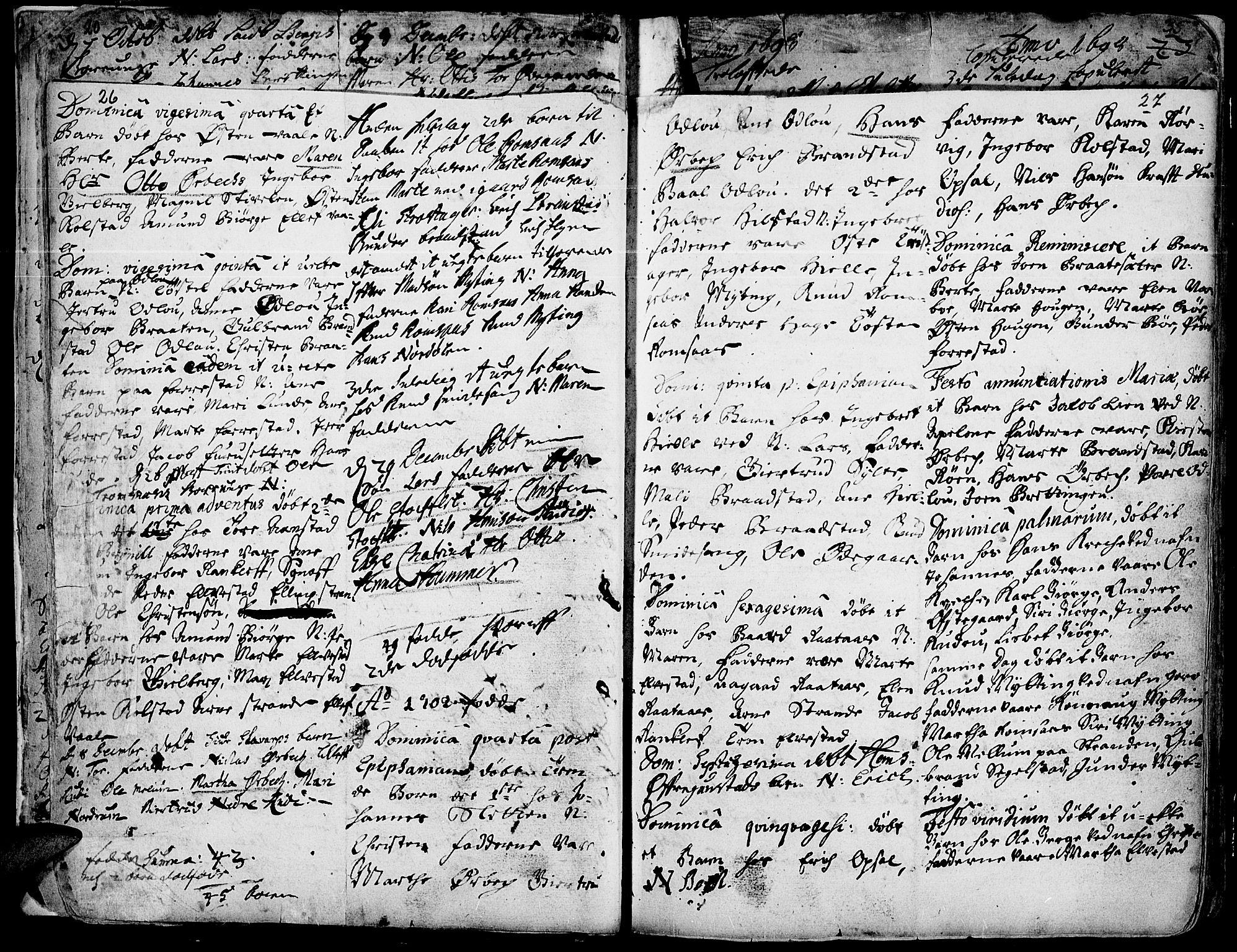 SAH, Ringebu prestekontor, Ministerialbok nr. 1, 1696-1733, s. 26-27