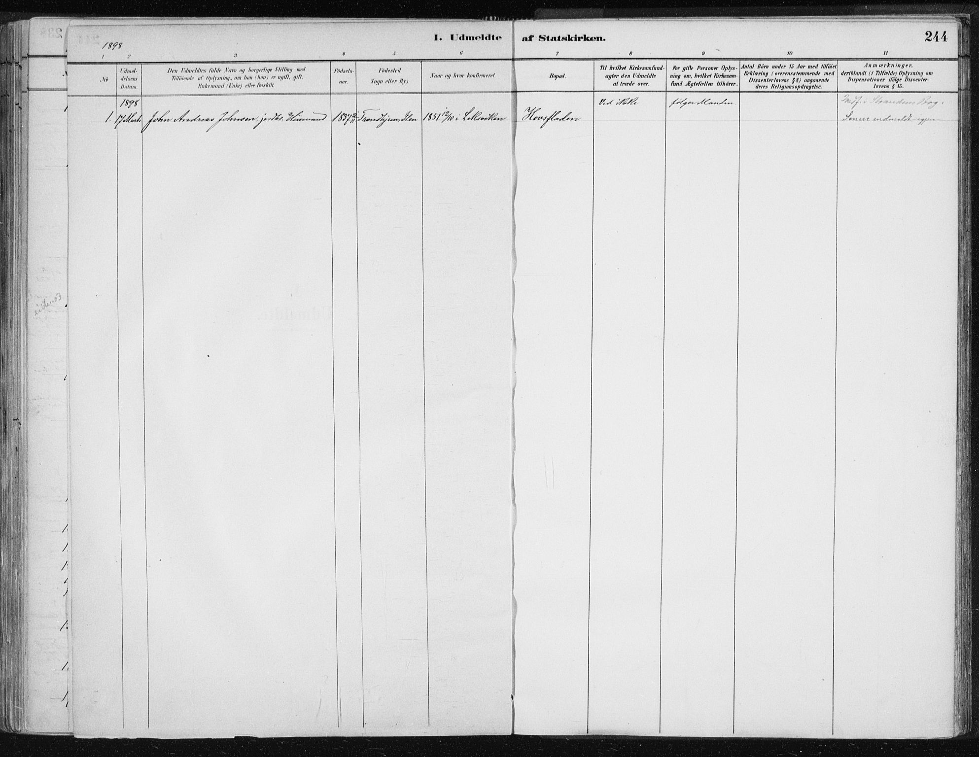 SAT, Ministerialprotokoller, klokkerbøker og fødselsregistre - Nord-Trøndelag, 701/L0010: Ministerialbok nr. 701A10, 1883-1899, s. 244