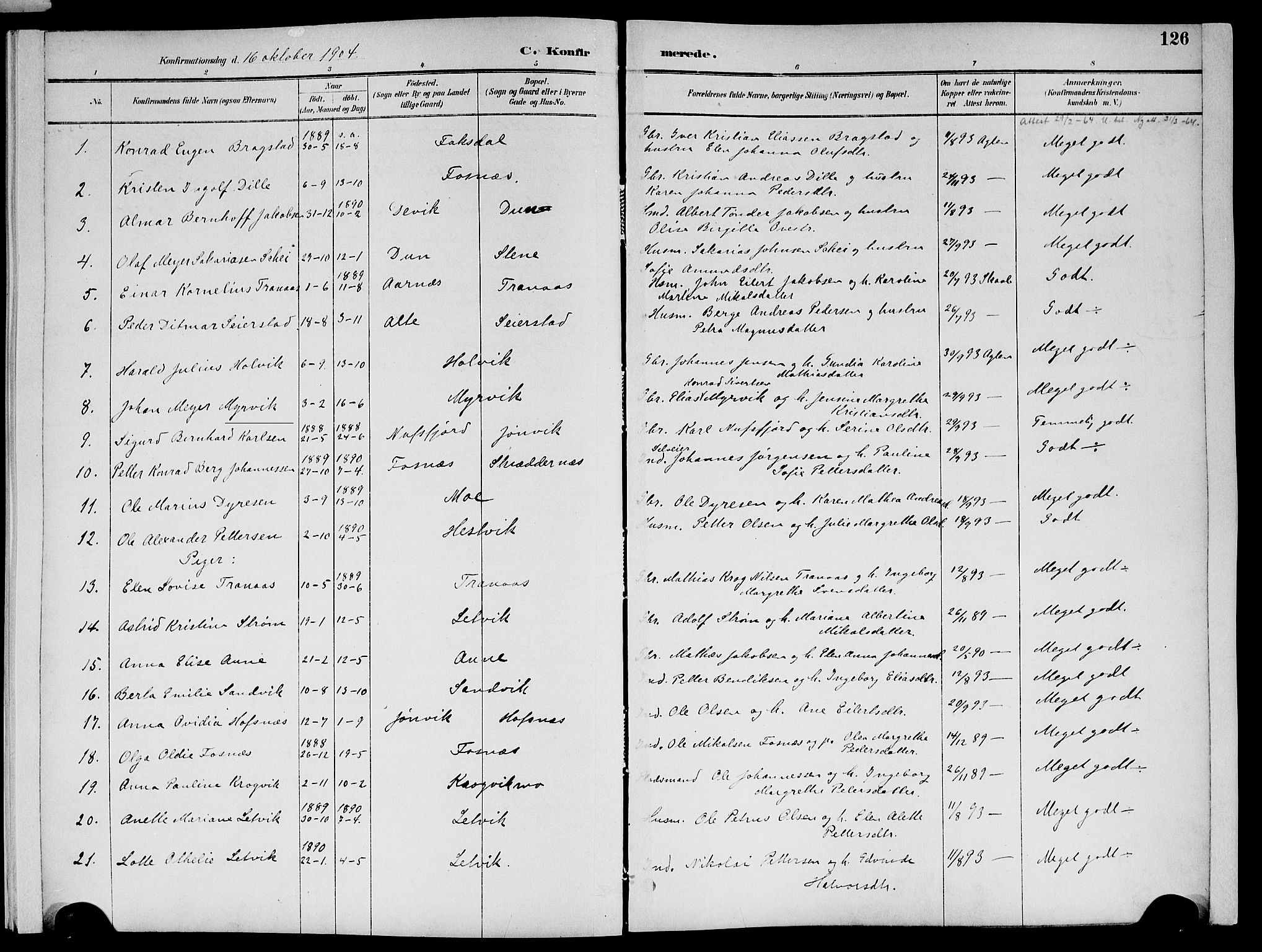 SAT, Ministerialprotokoller, klokkerbøker og fødselsregistre - Nord-Trøndelag, 773/L0617: Ministerialbok nr. 773A08, 1887-1910, s. 126